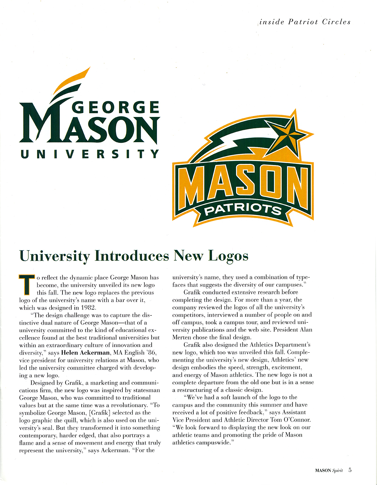"""University Introduces New Logos,"" article from <em>The Mason Spirit </em>magazine, Fall 2004"
