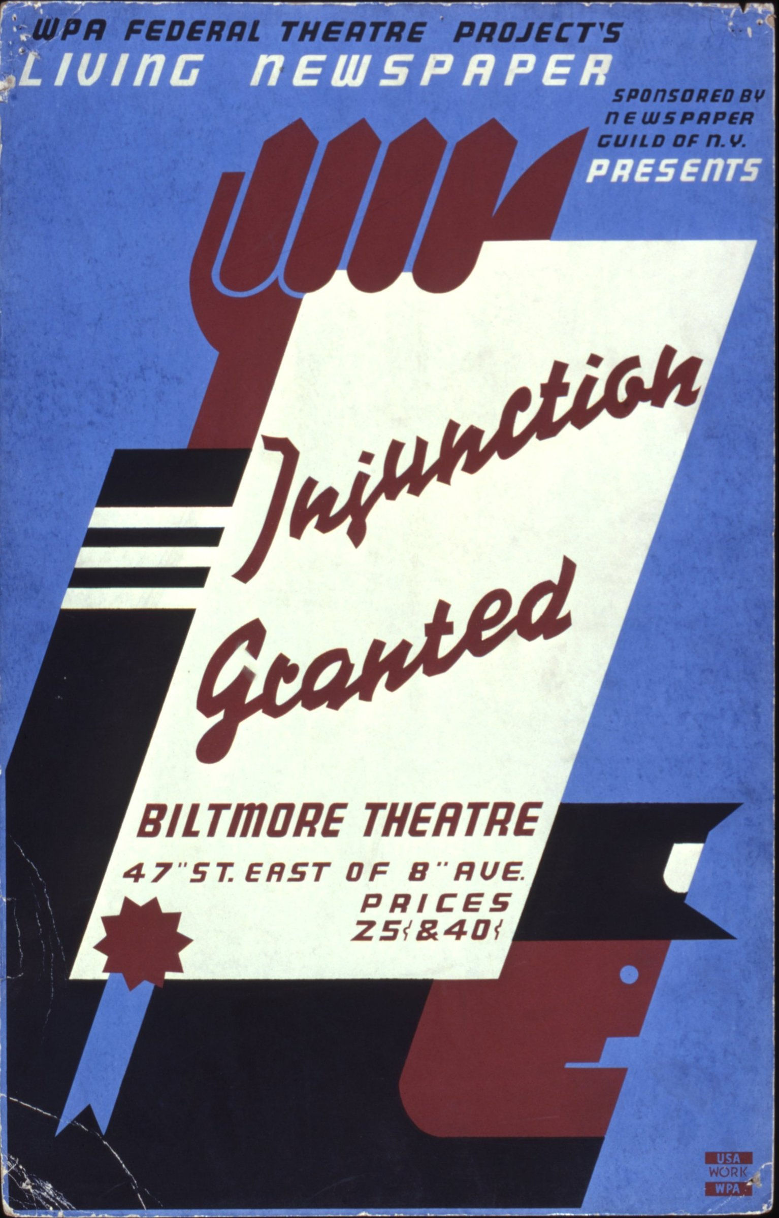 <em>Injunction Granted</em>, screenprinted poster, Federal Theater Project<br />