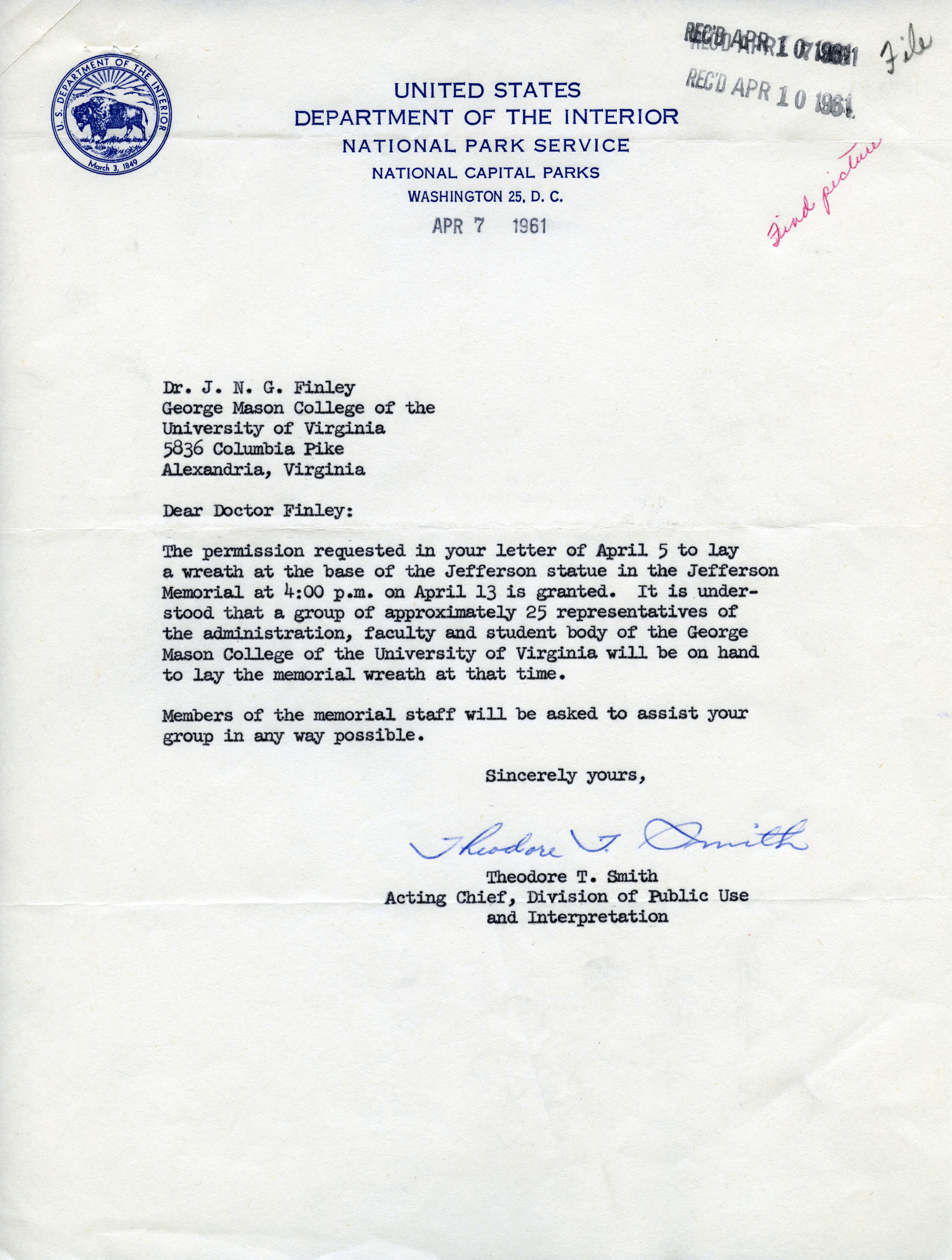 Theodore T. Smith to J.N.G. Finley, April 7, 1961