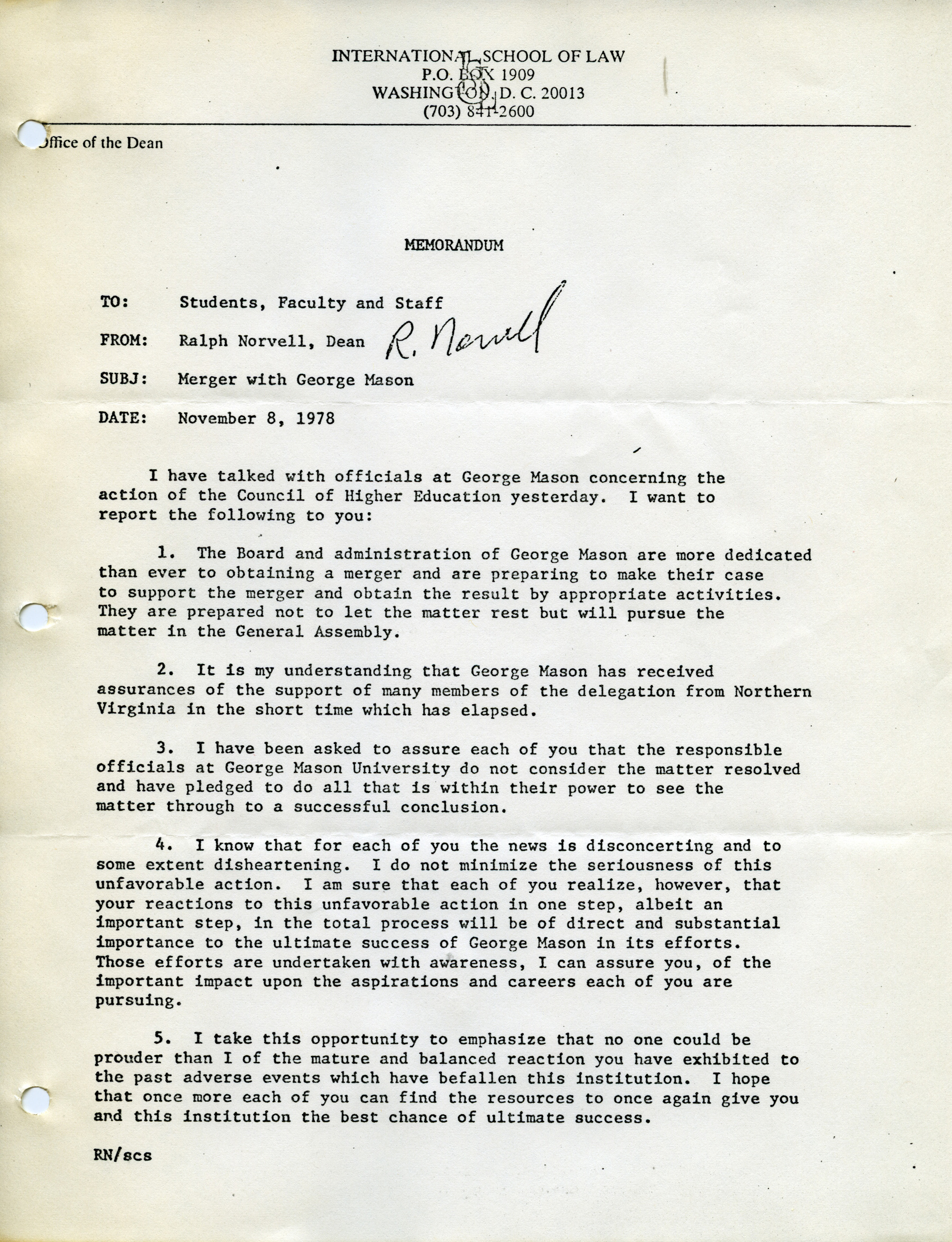 To students, faculty, and staff, from Ralph Norvell, Dean, November 8, 1978
