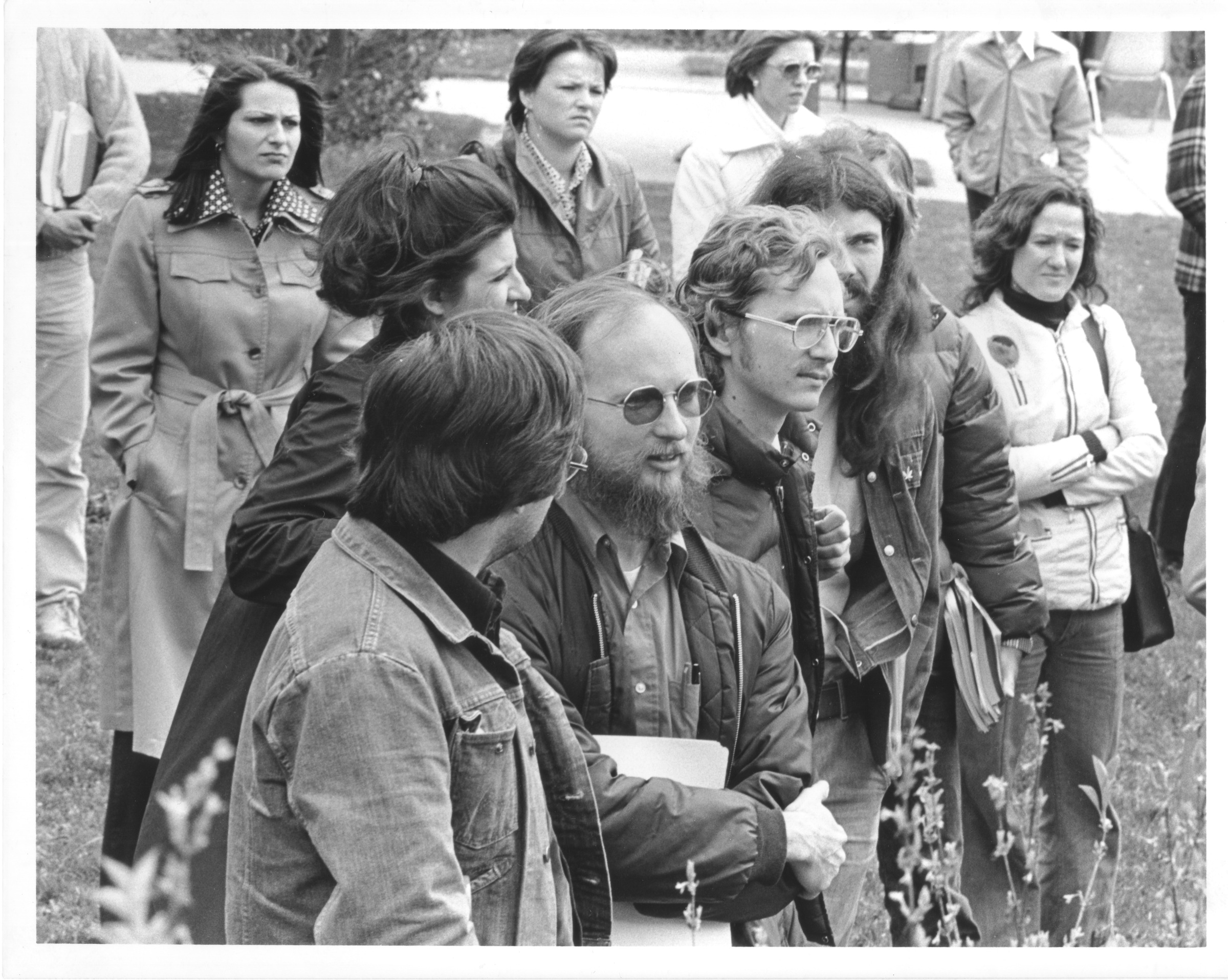 Fred Millar and other faculty members at rally, February 5, 1978