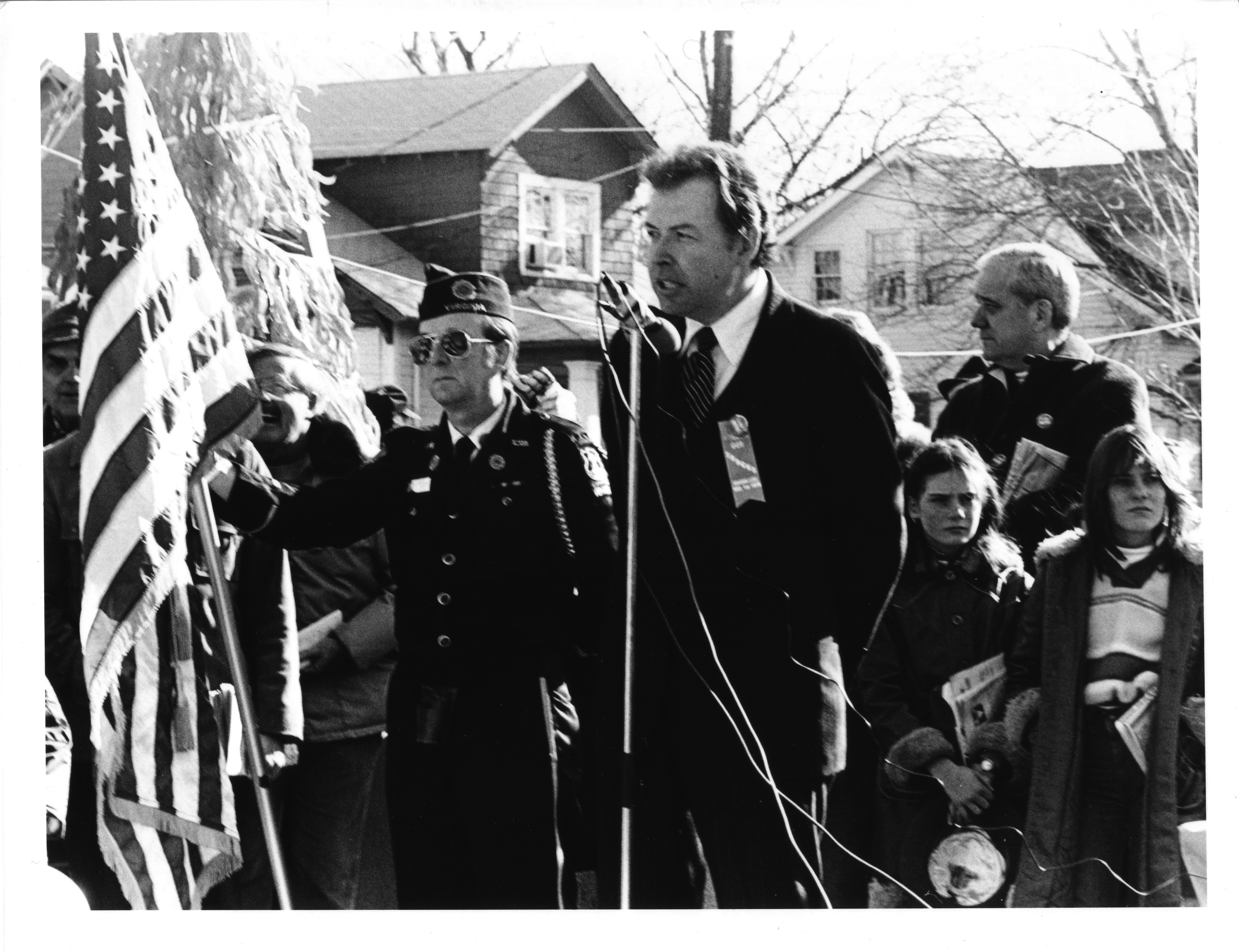 Dr. George W. Johnson speaking at the opening of the Virginia Square Metro Station, Arlington, Virginia, December 1, 1979
