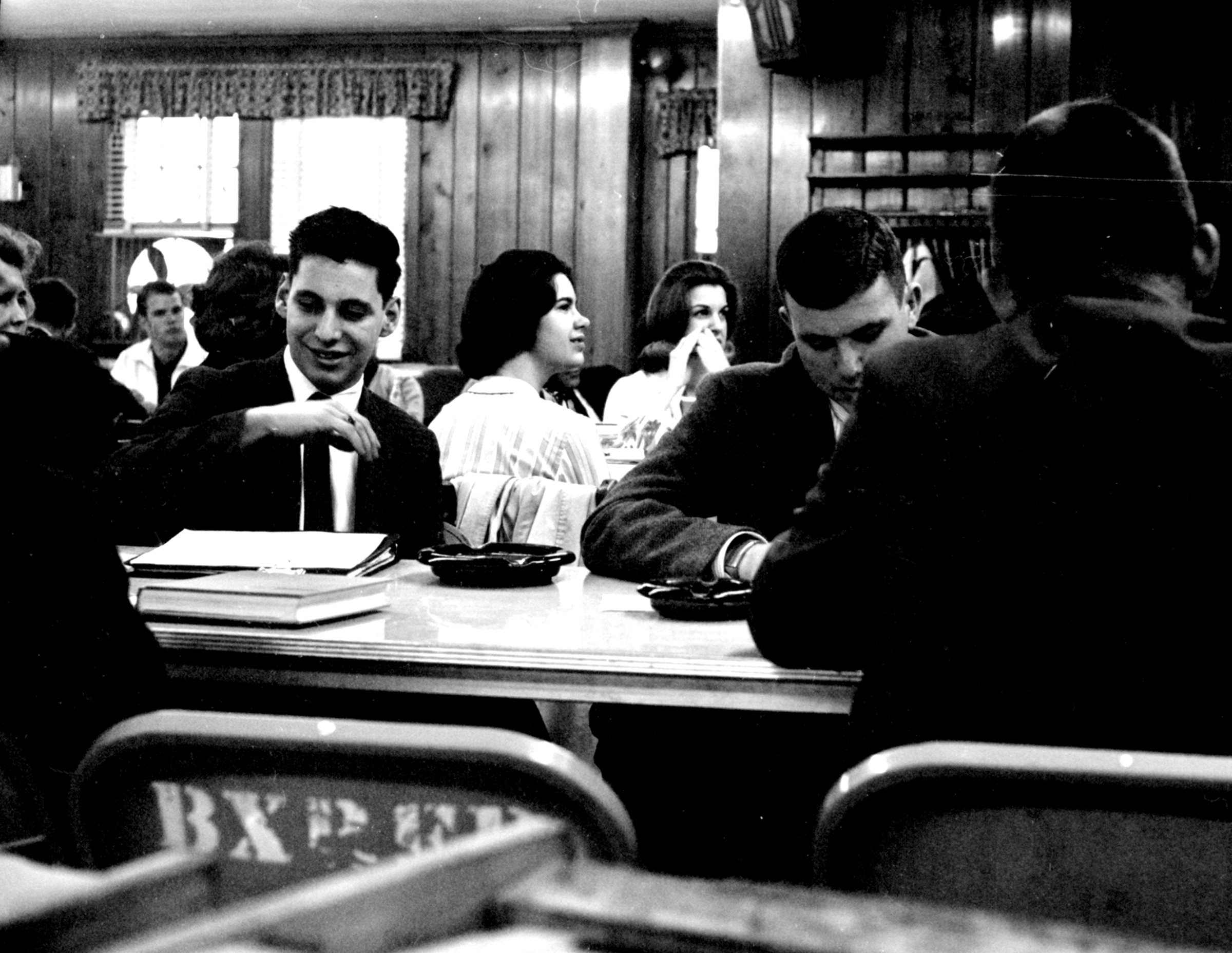 In the student lounge (Bailey's Crossroads firehouse meeting hall), student government election debates, 1964.