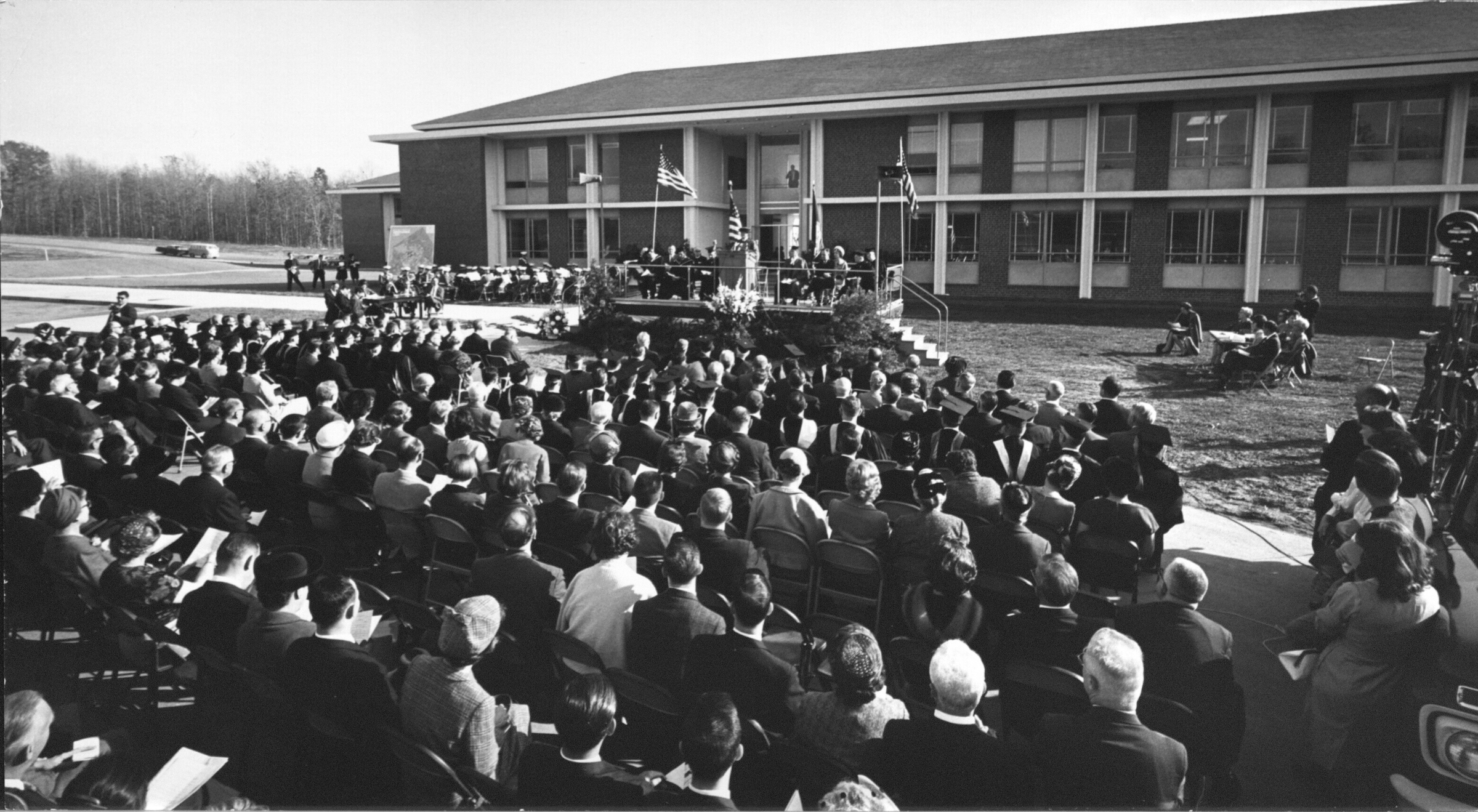 Speakers platform, George Mason College Dedication, Fairfax, Va., November 12, 1964.