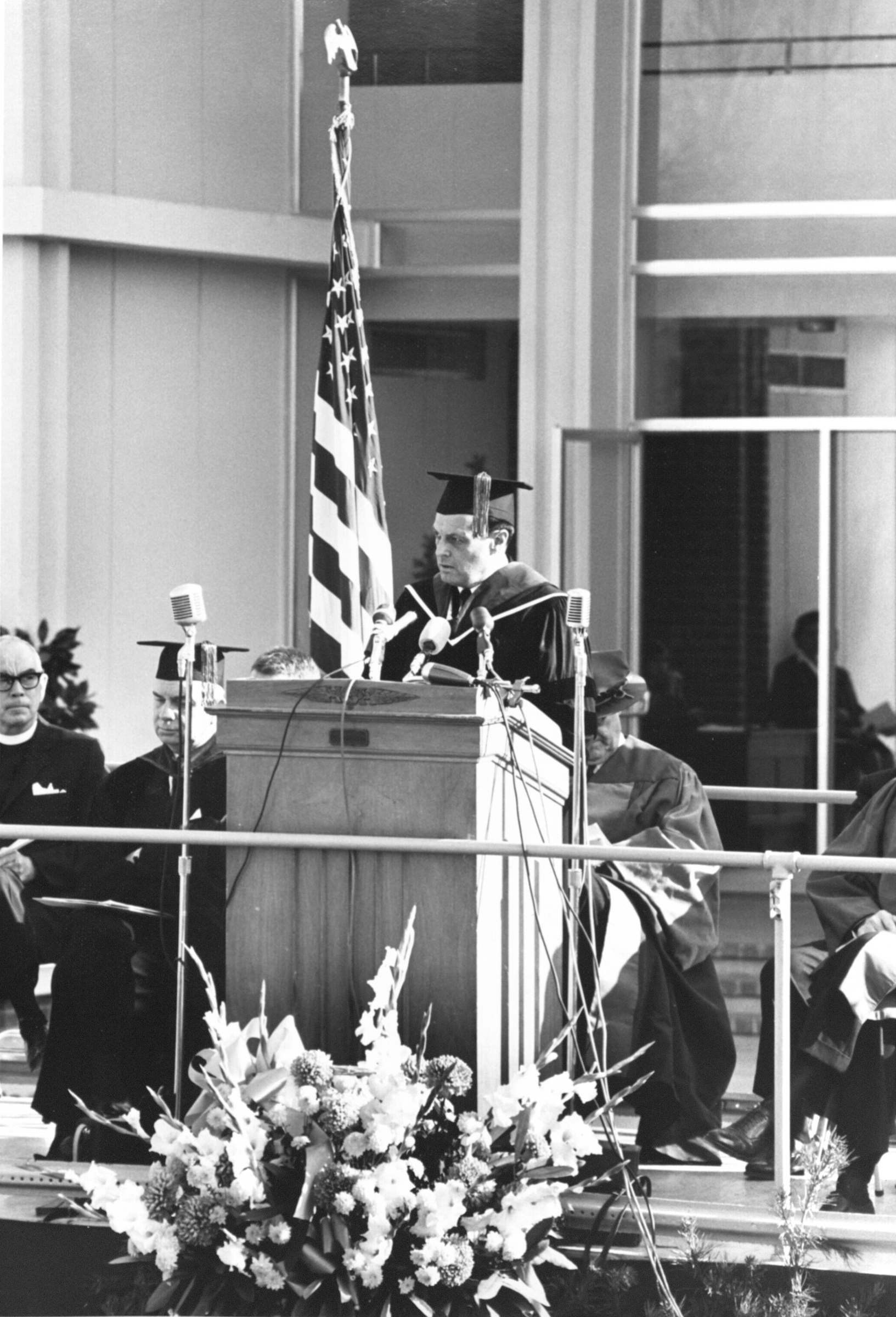 Robert H. Reid speaking at George Mason College Dedication, Fairfax, Va., November 12, 1964.