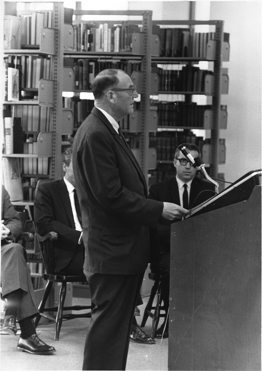 Charles Rogers Fenwick at the Fenwick Library Dedication, December 15, 1967