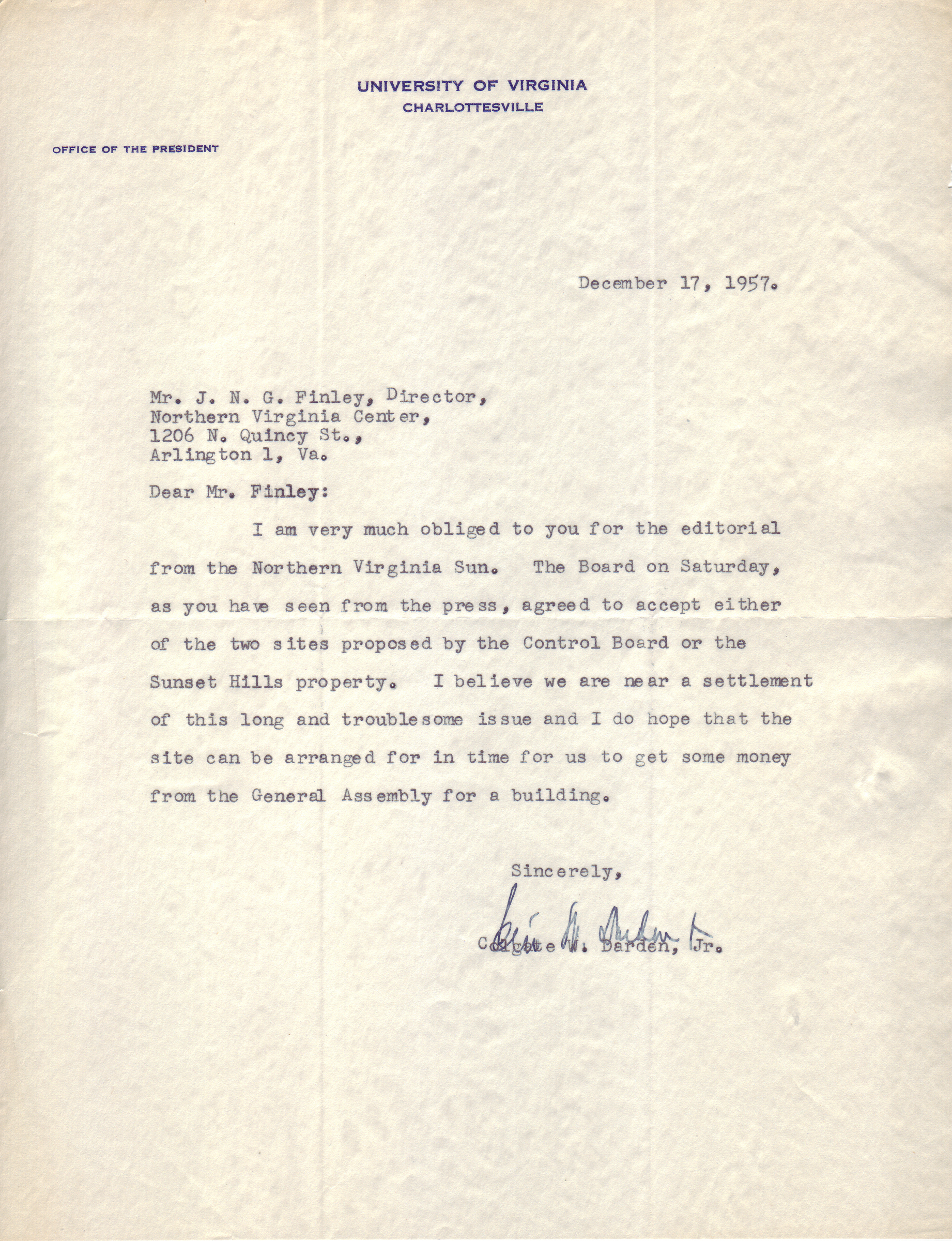 Colgate W. Darden, Jr. to J.N.G. Finley, December 17, 1957.