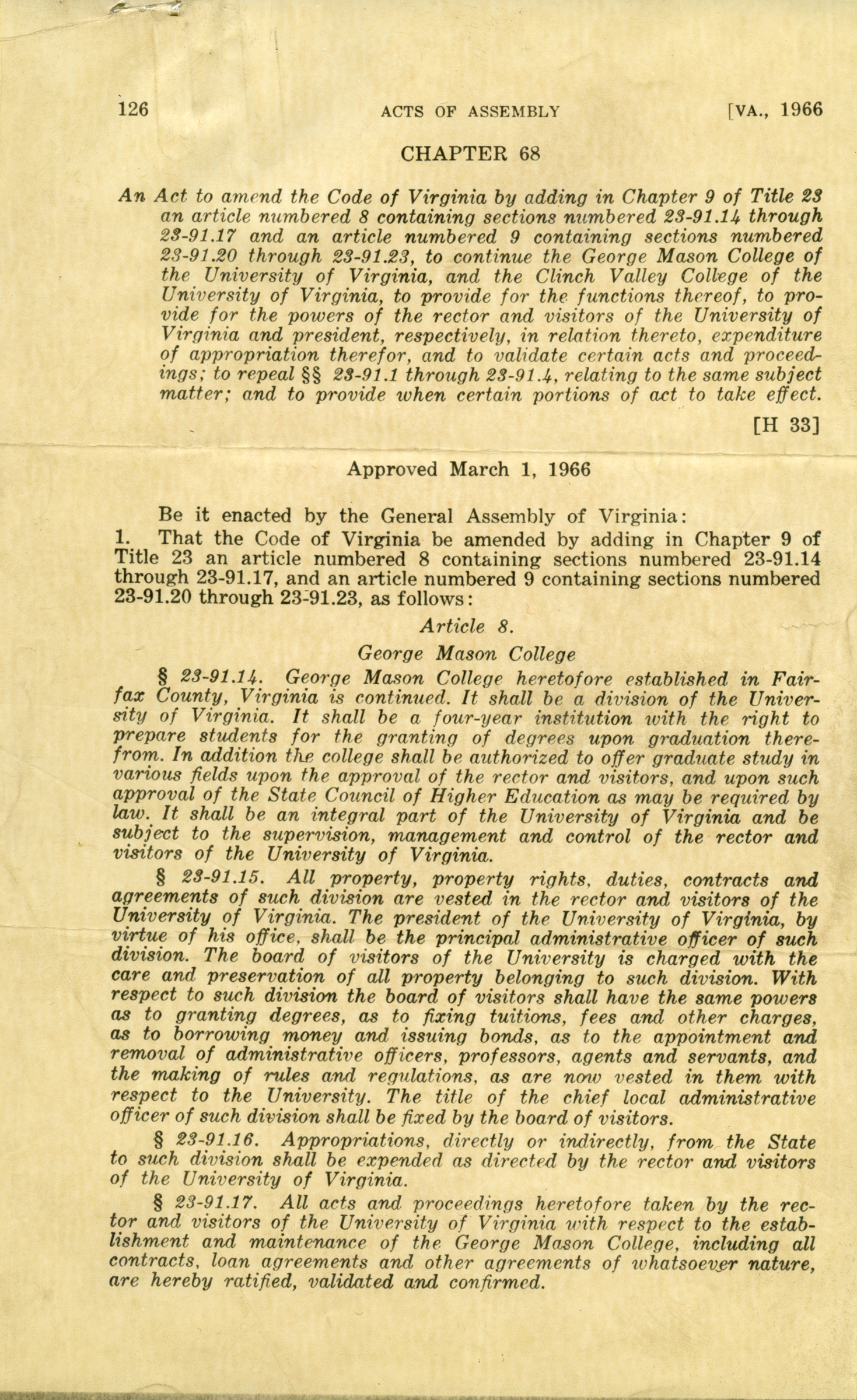 Acts of Assembly, Chapter 68 [H33] Article 8. George Mason College, March 1, 1966.