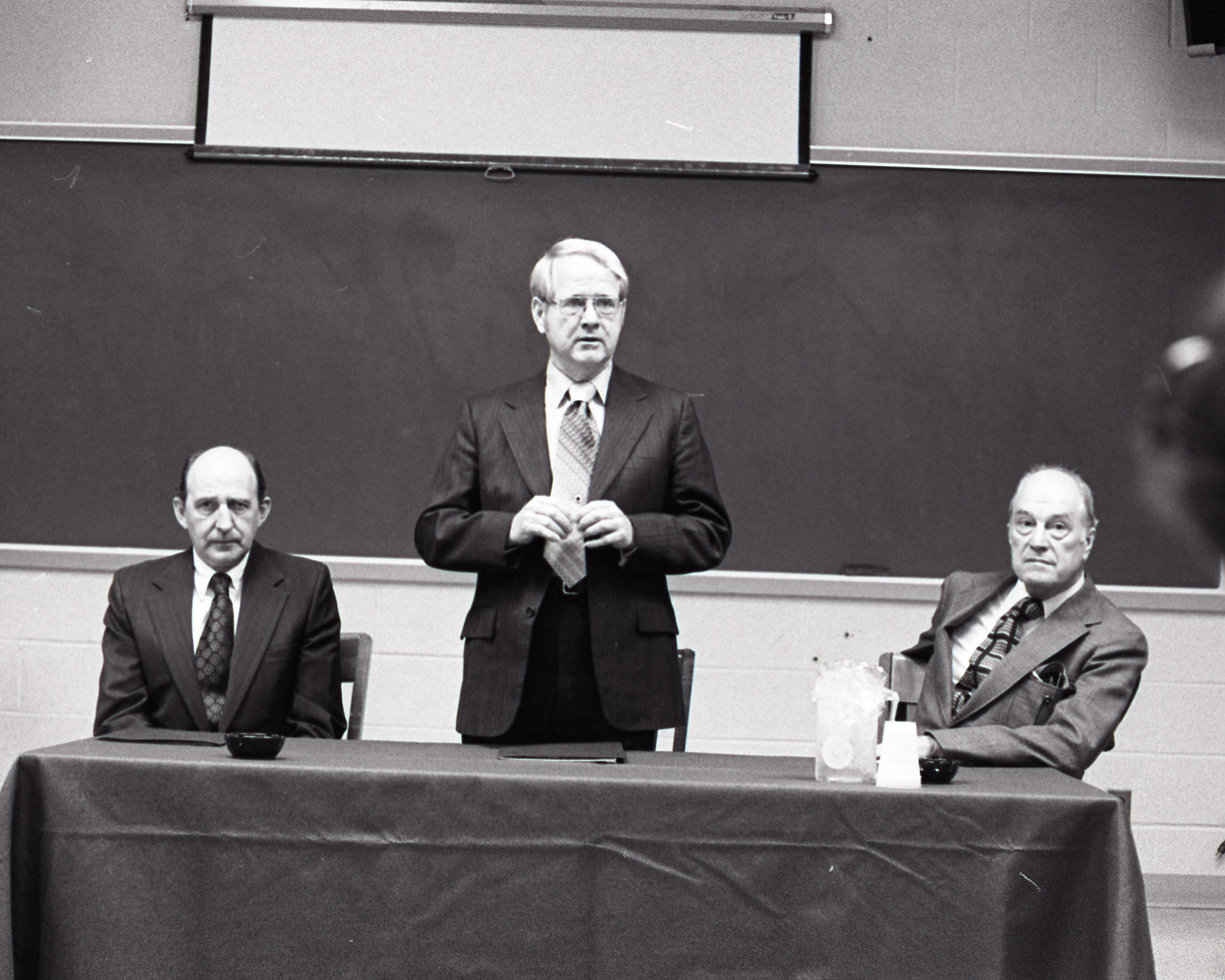 Dr. Vergil H. Dykstra is announced as president of George Mason University, April 3, 1973