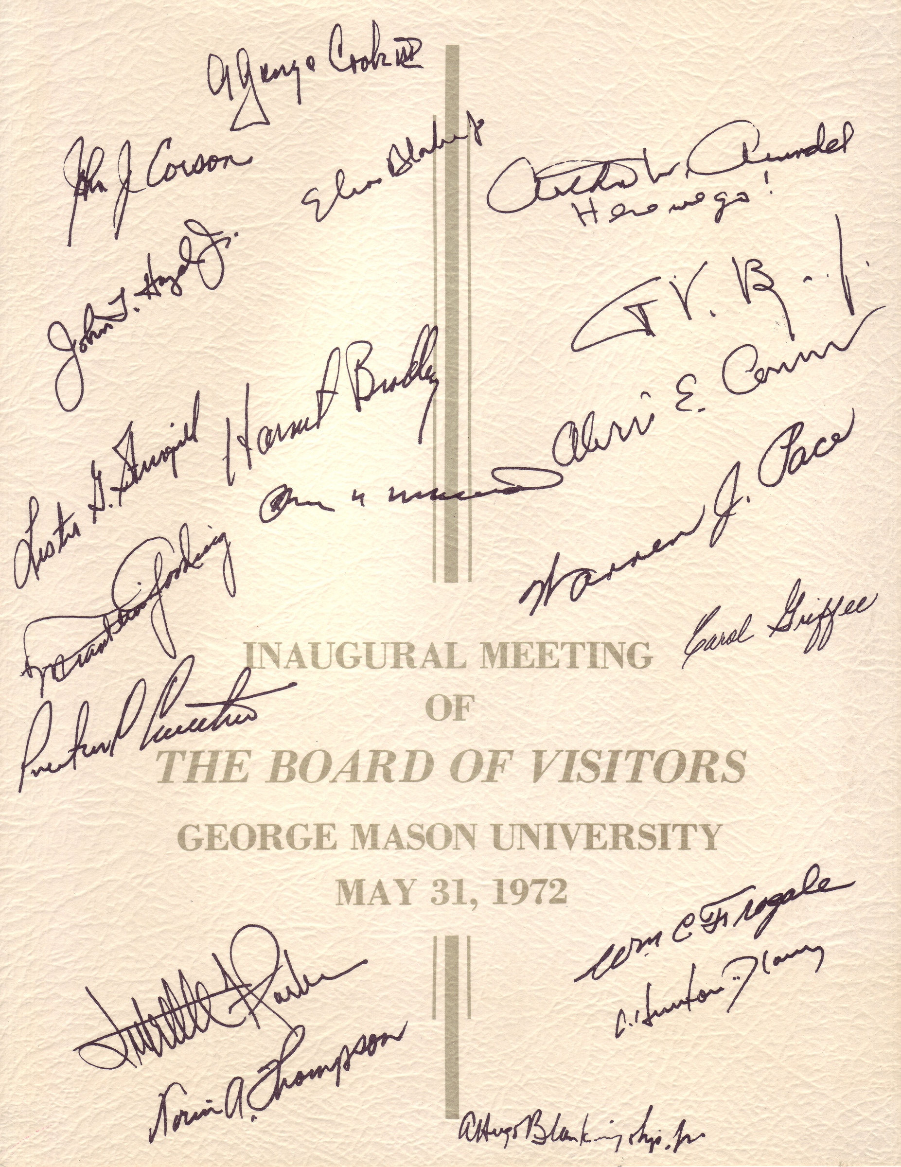 Inaugural meeting of The Board of Visitors, George Mason University, May 31, 1972, autographed card