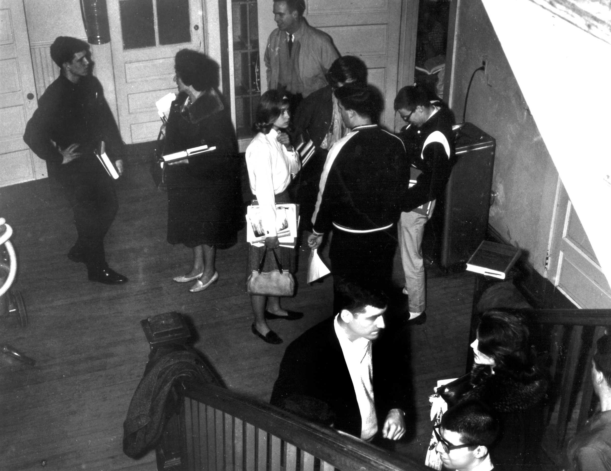 Spanish class getting out, main hallway, 1963.
