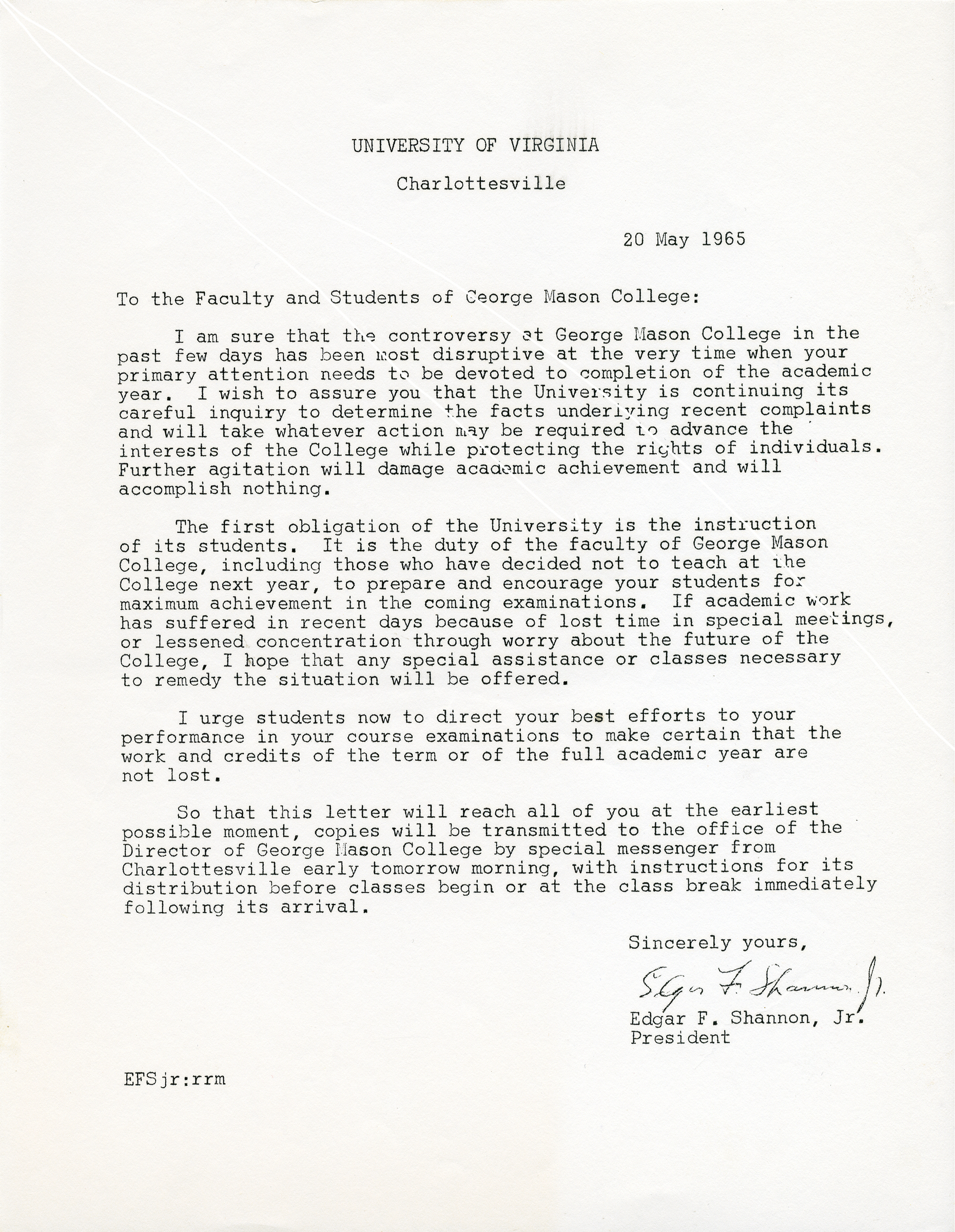 Edgar F. Shannon, Jr. to the Faculty and Students of George Mason College, May 20, 1965.