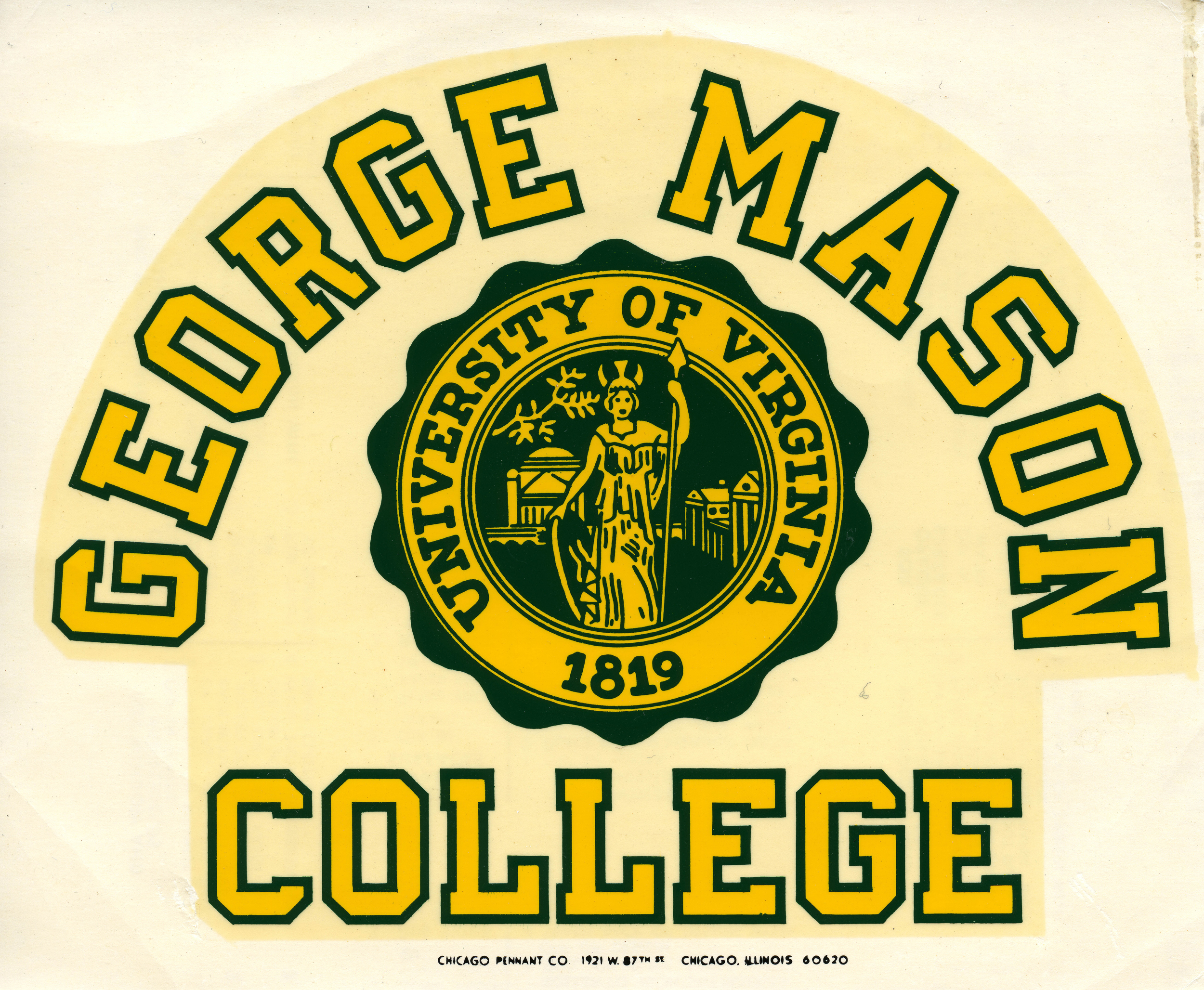 George Mason College, decal, ca. 1970