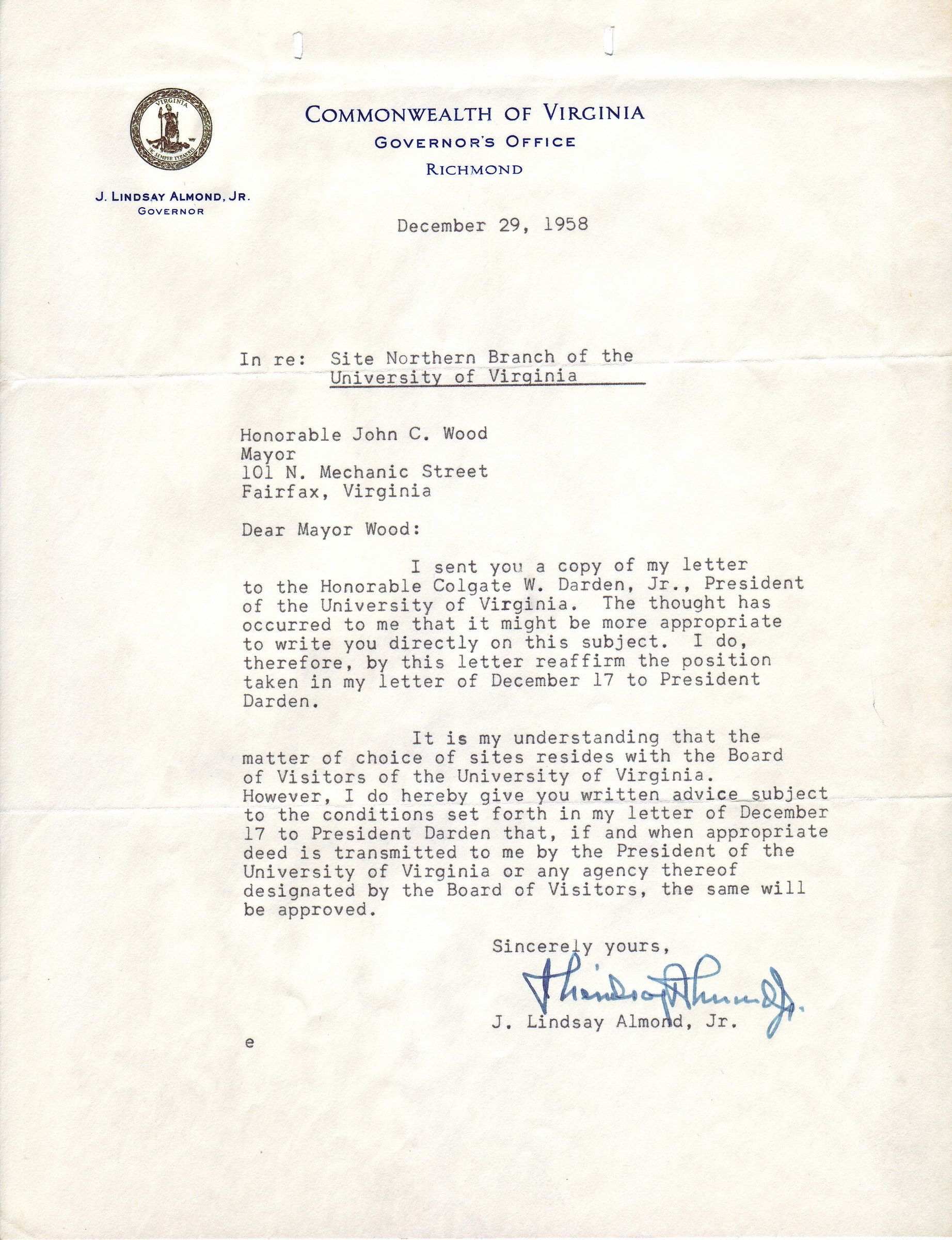 J. Lindsay Almond, Jr. to John C. Wood, December 29, 1958.