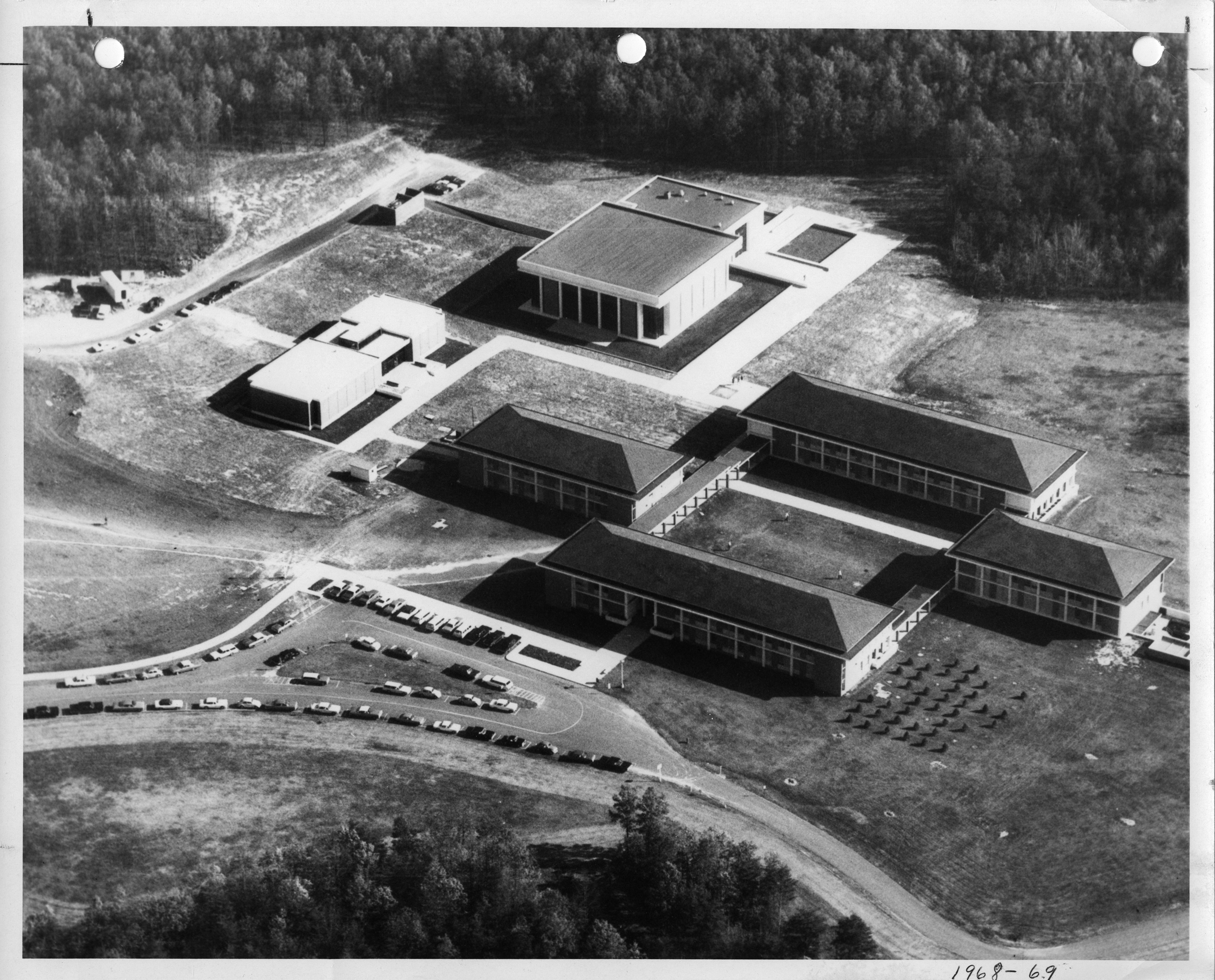 George Mason College, Fairfax campus, 1968, aerial photograph looking southeast