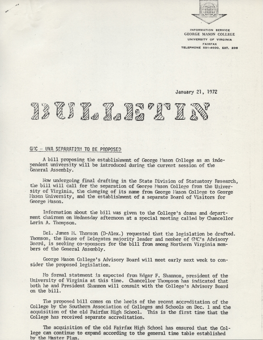 Bulletin: separation bill details unveiled, January 28, 1972