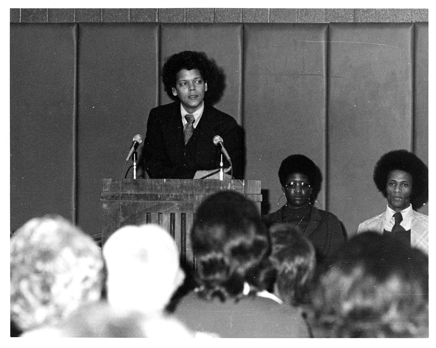Julian Bond speaks at George Mason University's Festival of Exposure, February 23, 1975