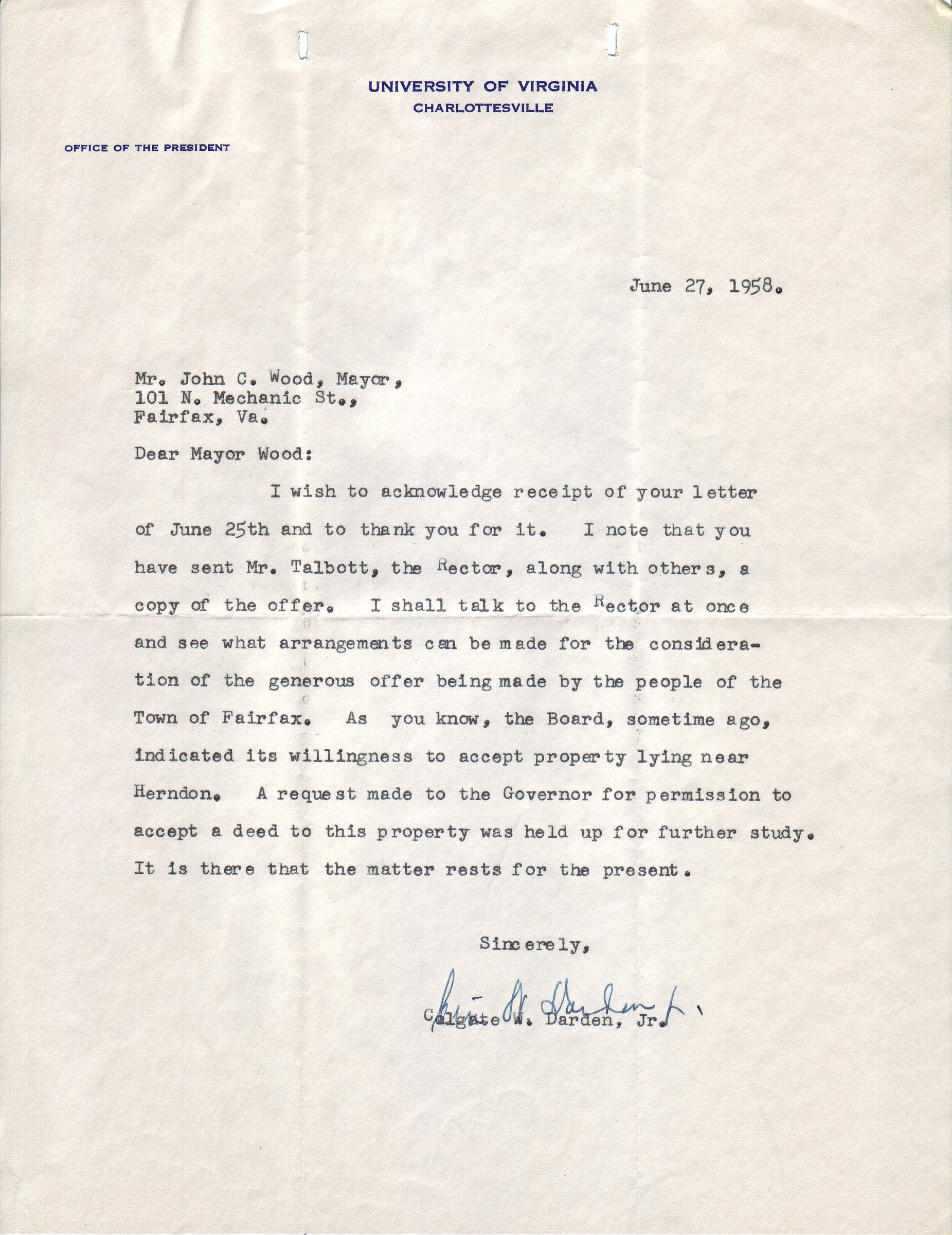 Colgate W. Darden, Jr. to John C. Wood, June 27, 1958.