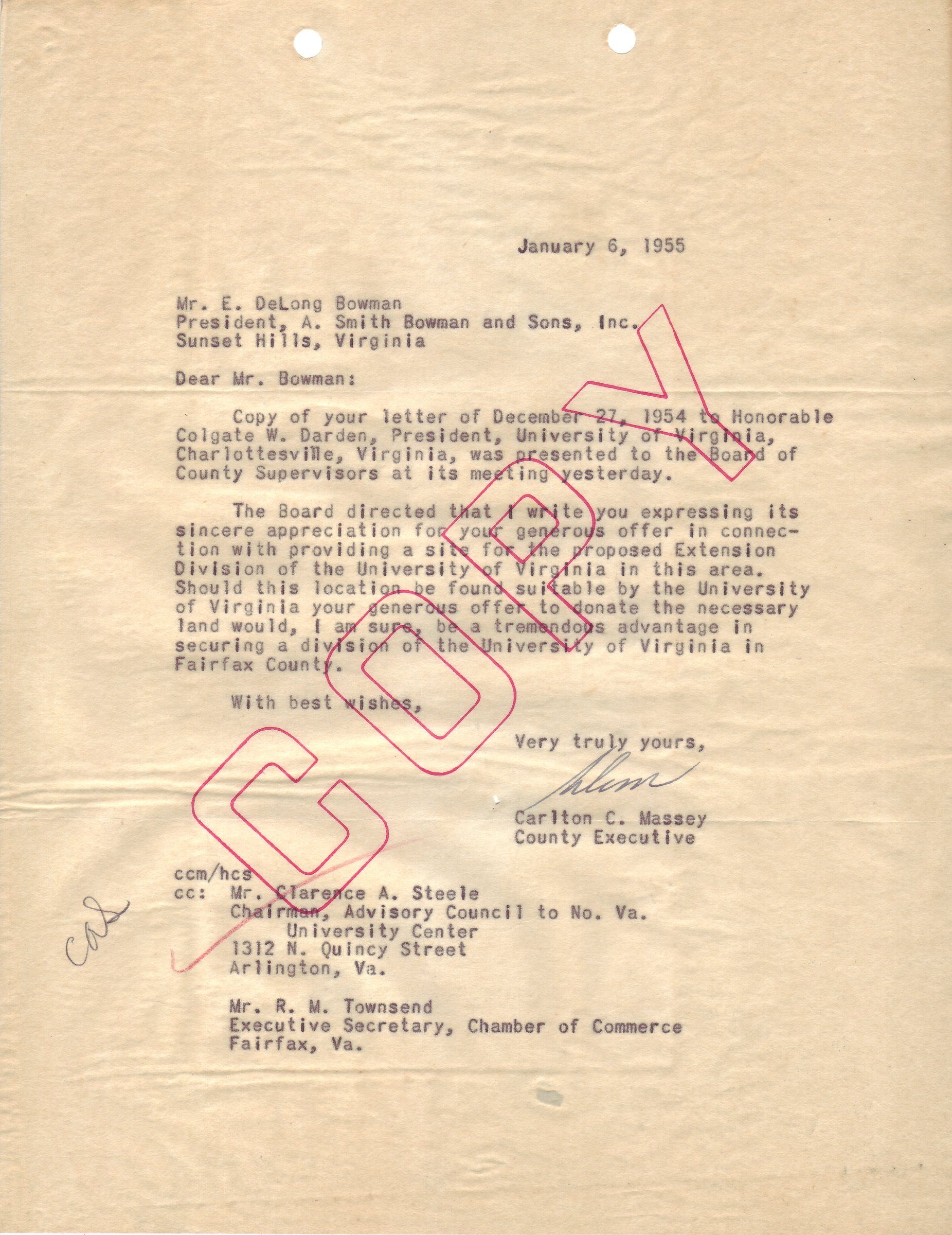 Carlton C. Massey to E. DeLong Bowman, January 6, 1955.