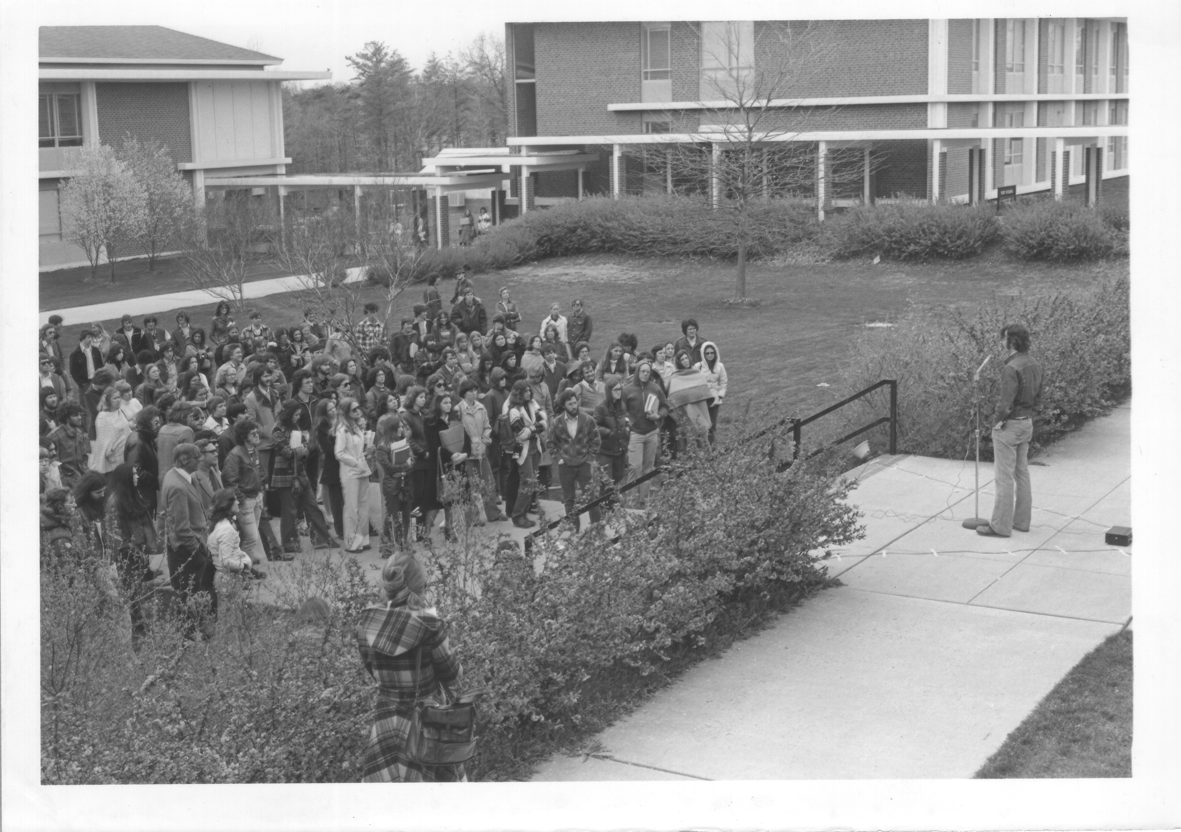 Students and faculty listen to a speaker during a rally for Fred Millar, February 1, 1978