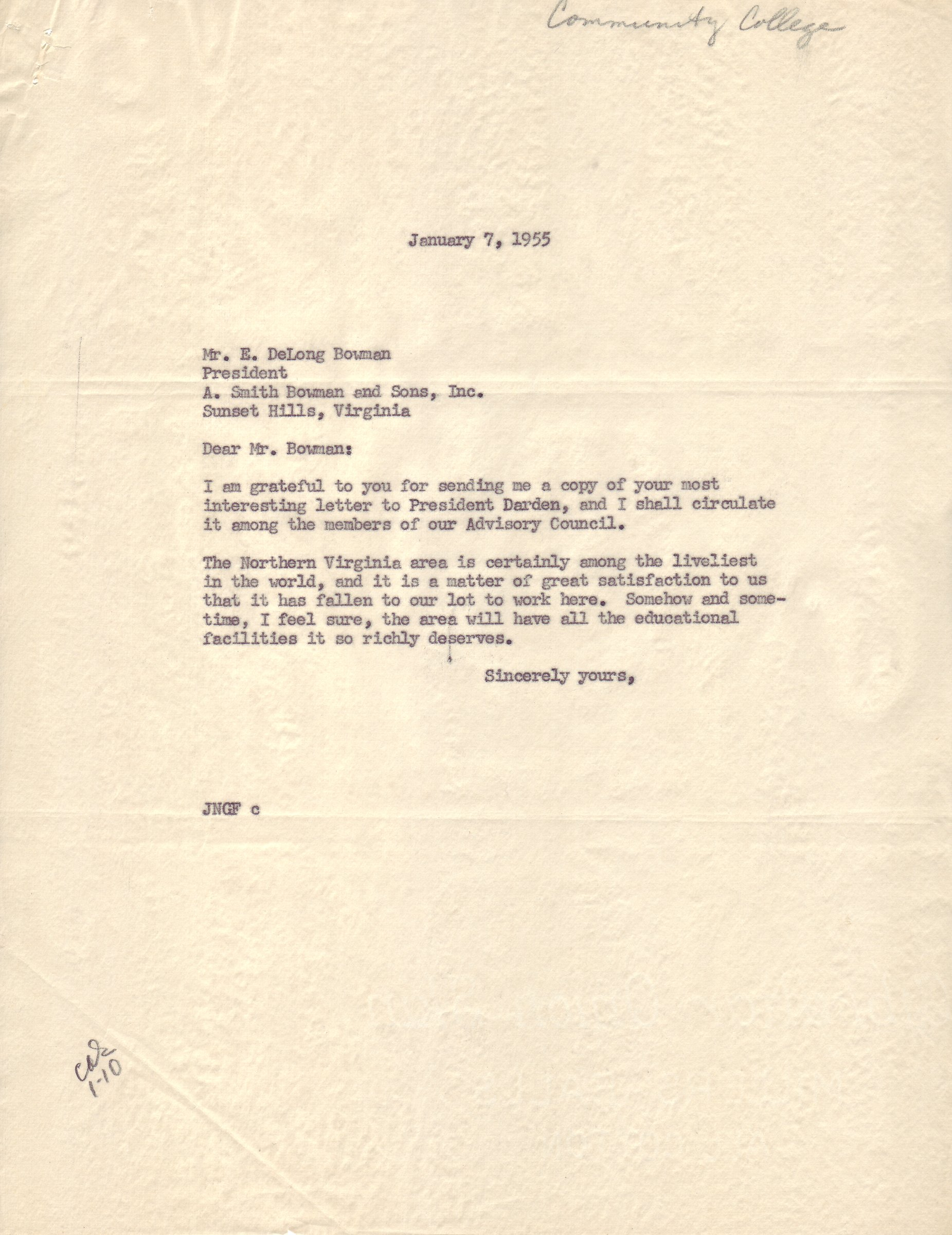 John Norville Gibson Finley to E. DeLong Bowman, January 17, 1955.