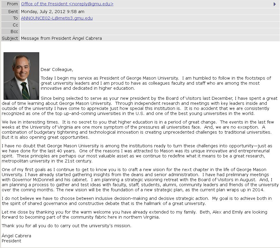 Dr. Ángel Cabrera to George Mason University faculty and staff, July 2, 2012 [electronic mail message]
