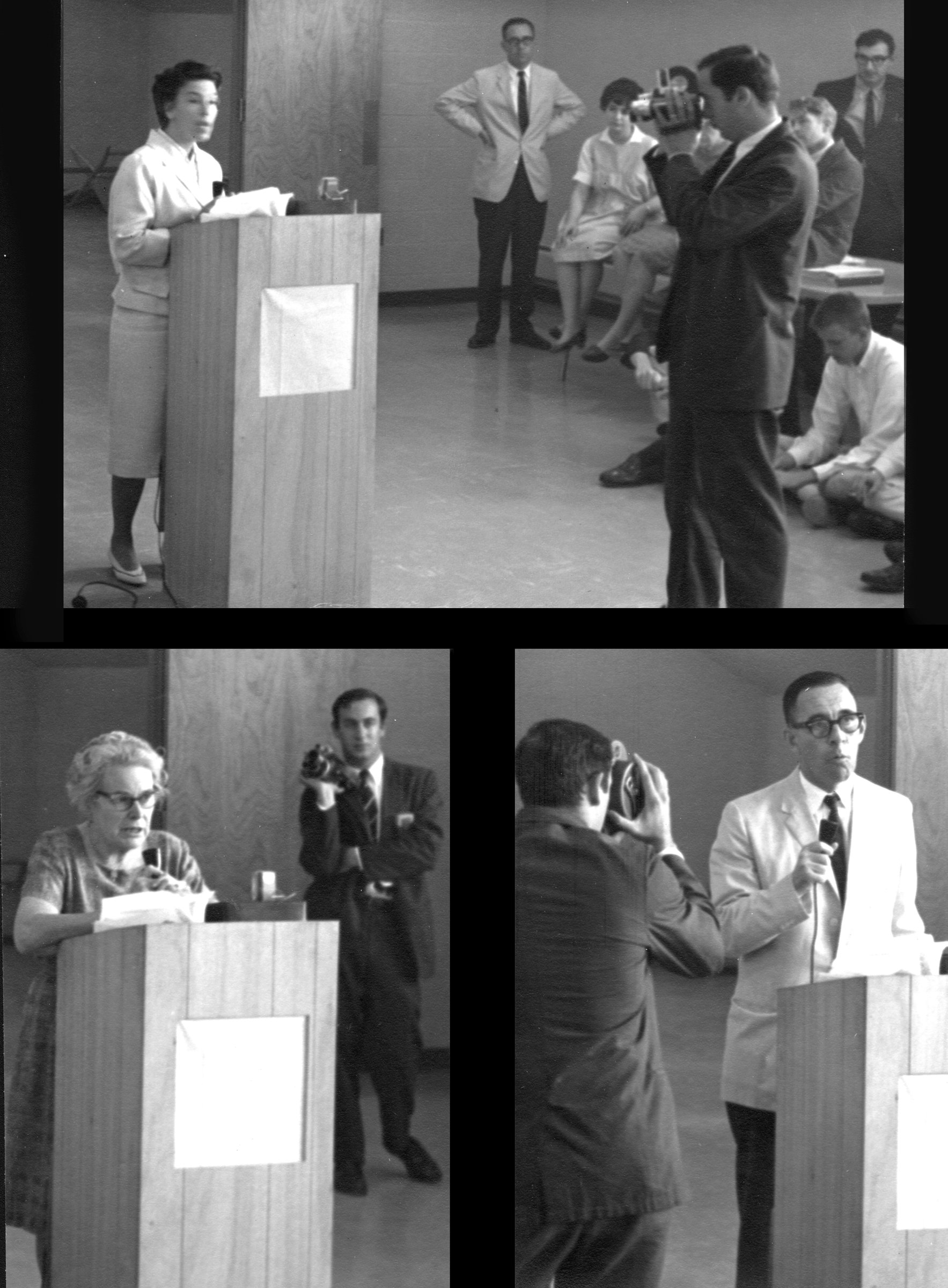 May 20, 1965, five full-time Ph.D, the core of the faculty [hold] a press conference to announce resignations in a dispute with Dr. Robert Reid, Director.