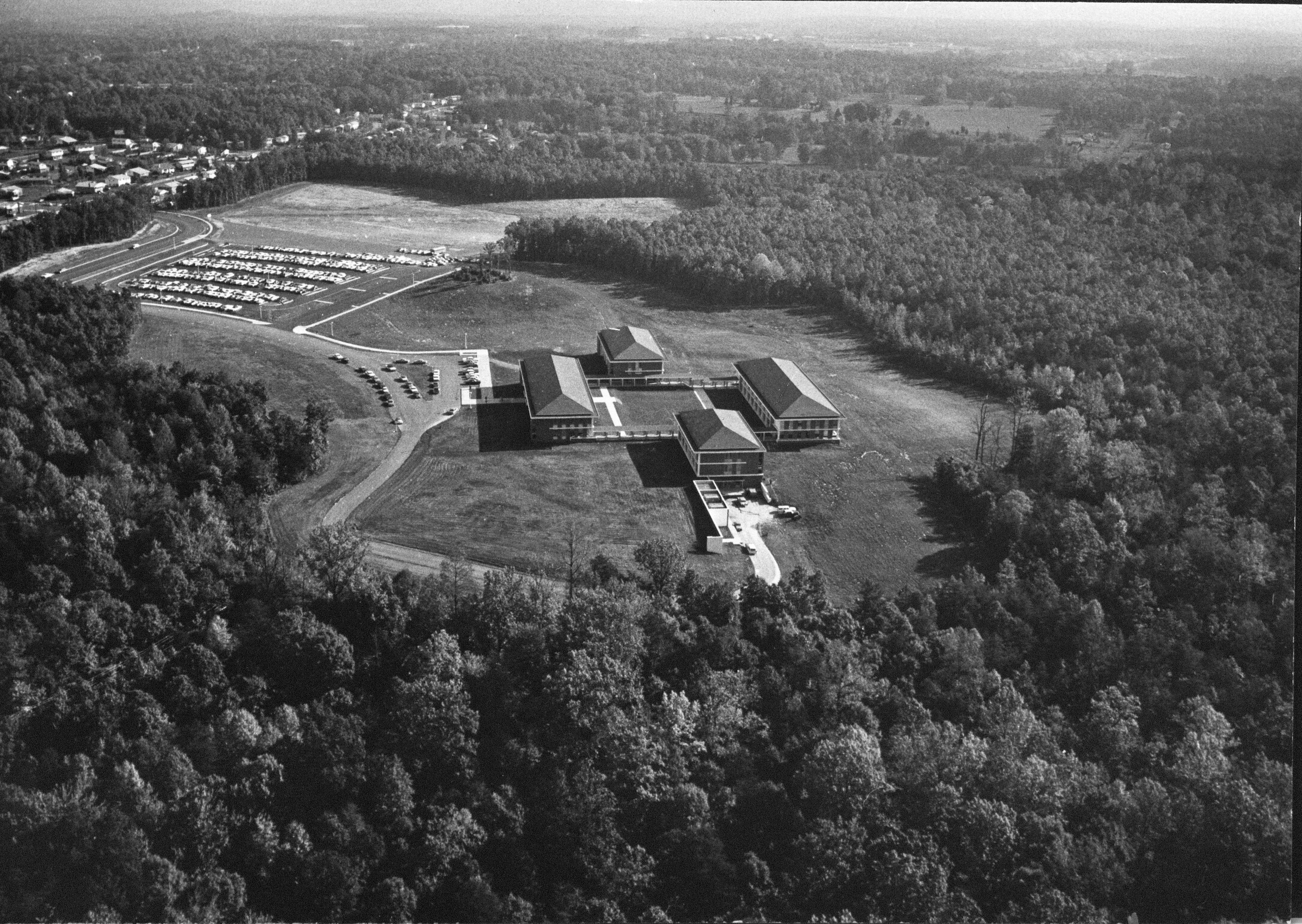 George Mason College, Fairfax campus, 1965, aerial photograph looking east.