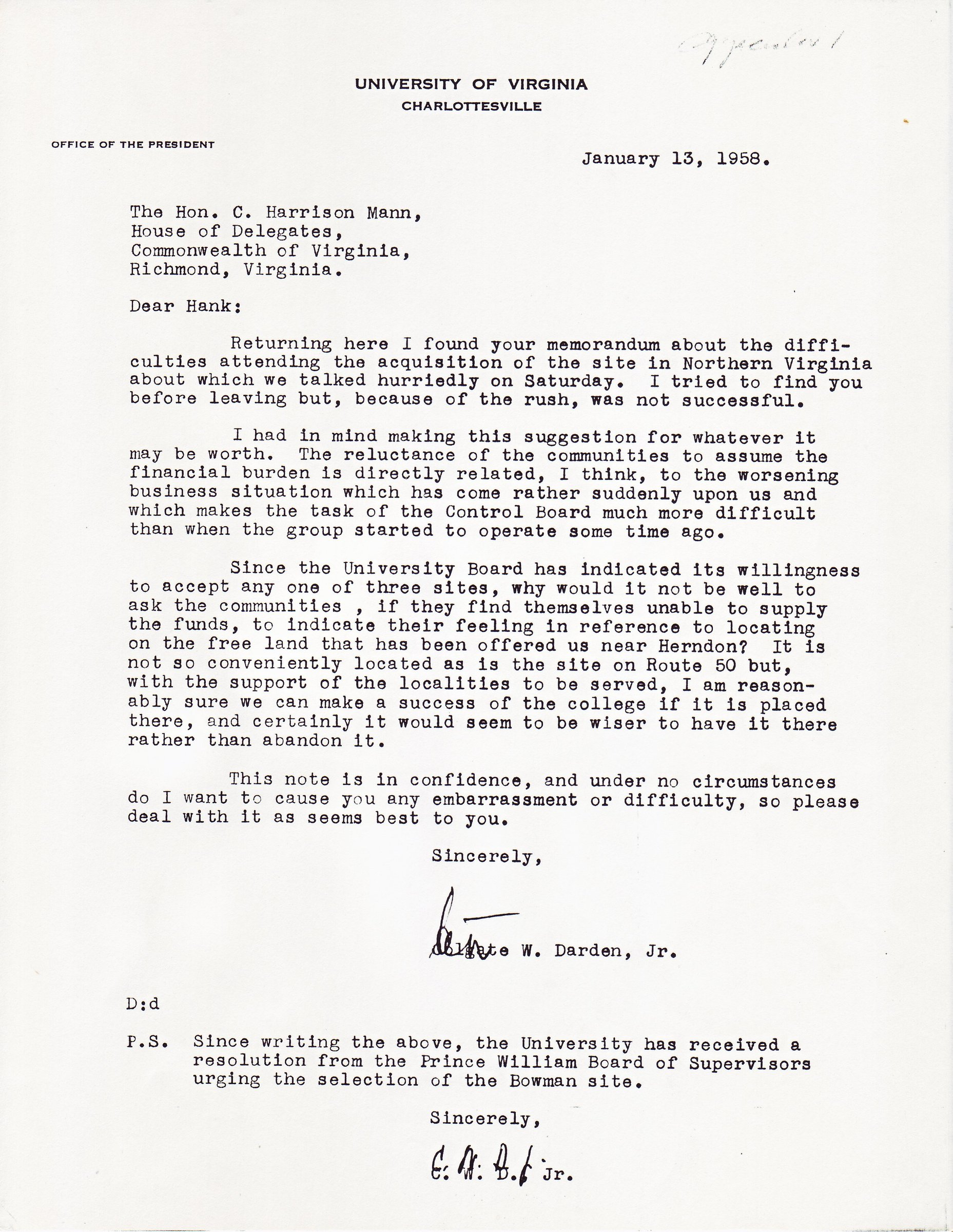 Colgate W. Darden, Jr. to C. Harrison Mann, January 13, 1958.