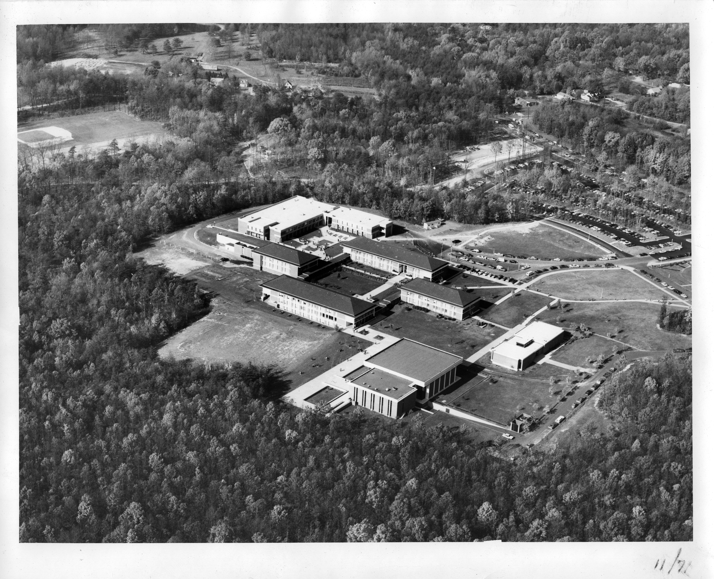 George Mason College, Fairfax campus, 1971, aerial photograph looking northwest