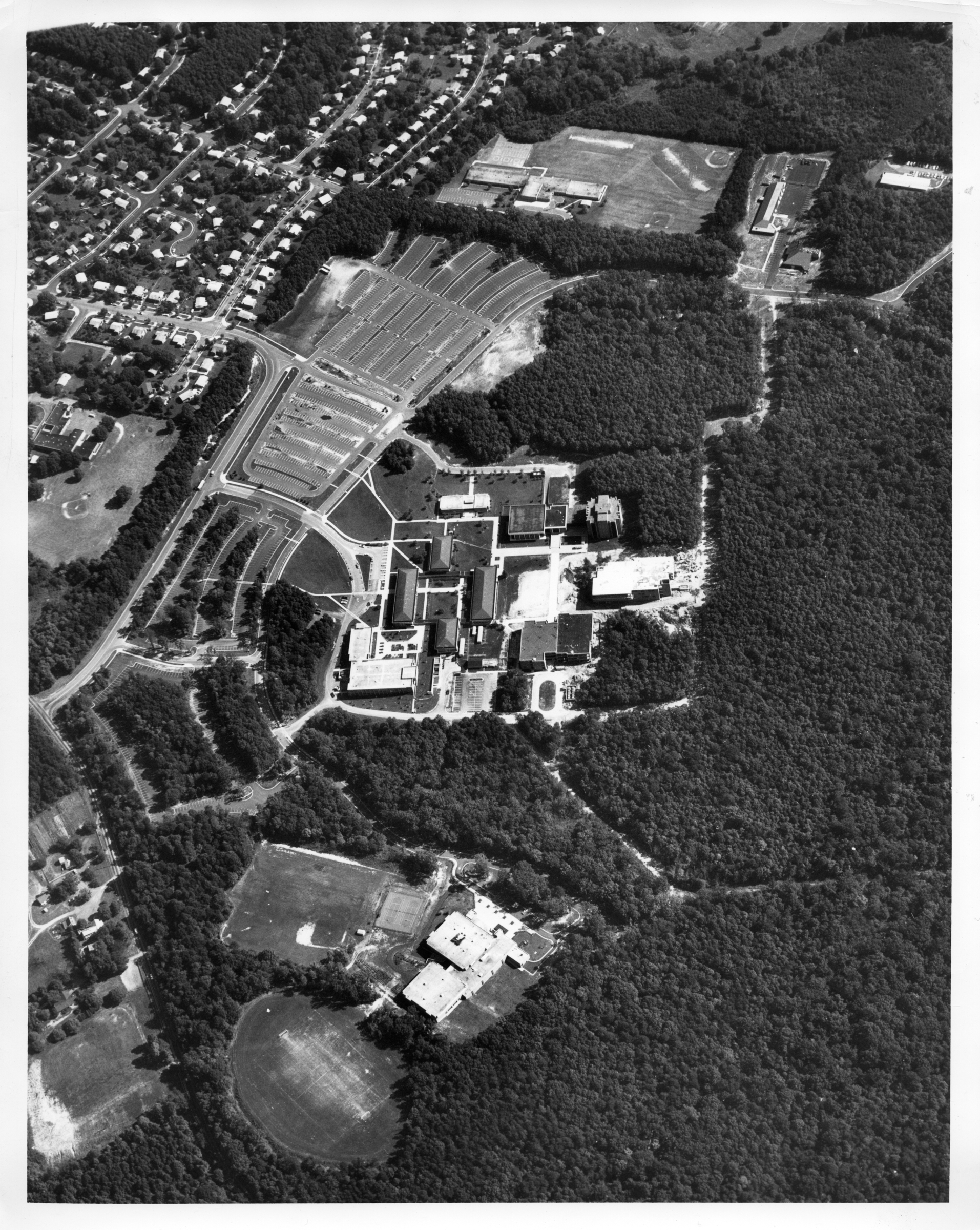 George Mason University, Fairfax campus and surrounding area, September 1974, aerial photograph