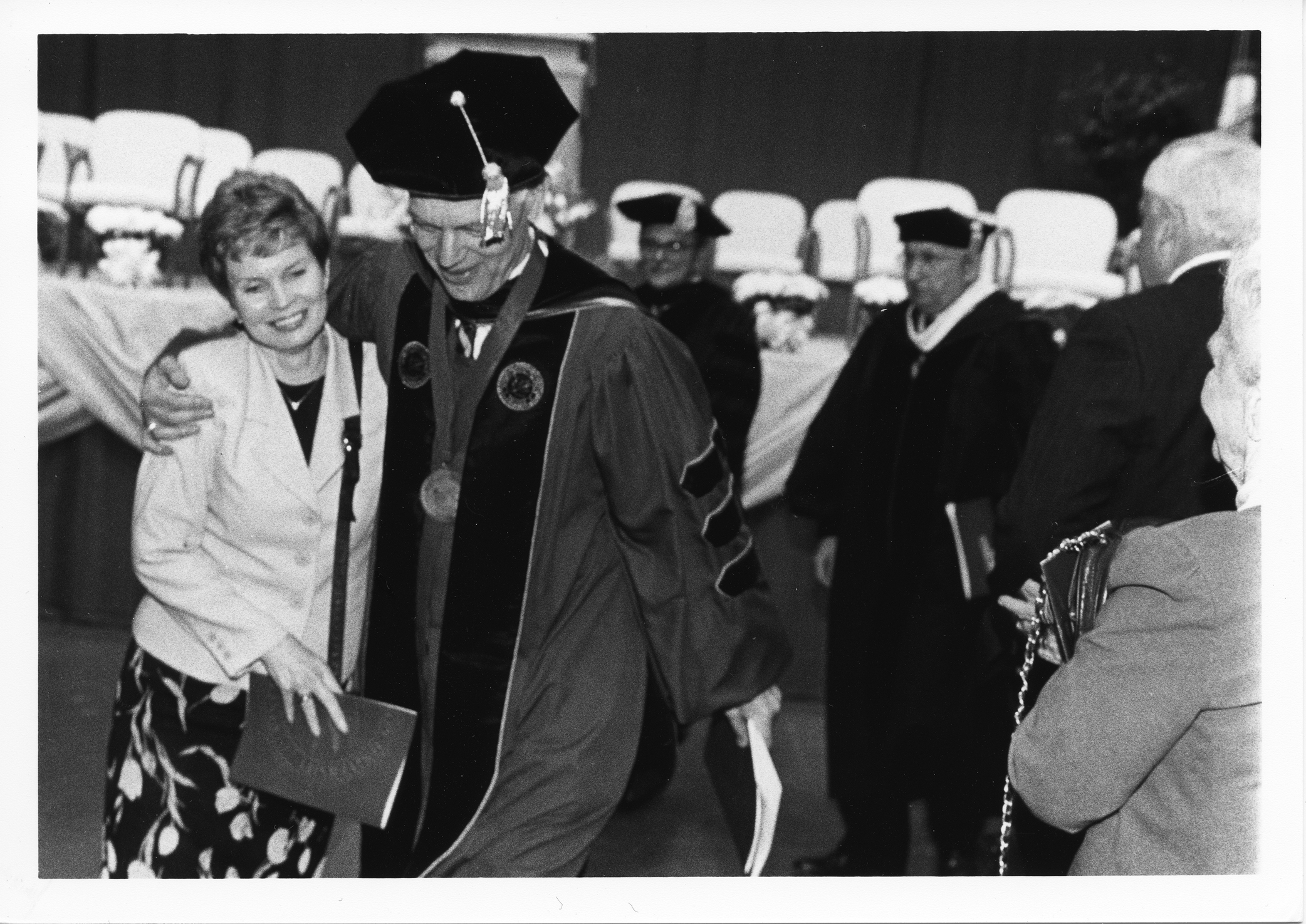Dr. Alan G. Merten and wife, and Sally Merten at his inauguration, April 4, 1997