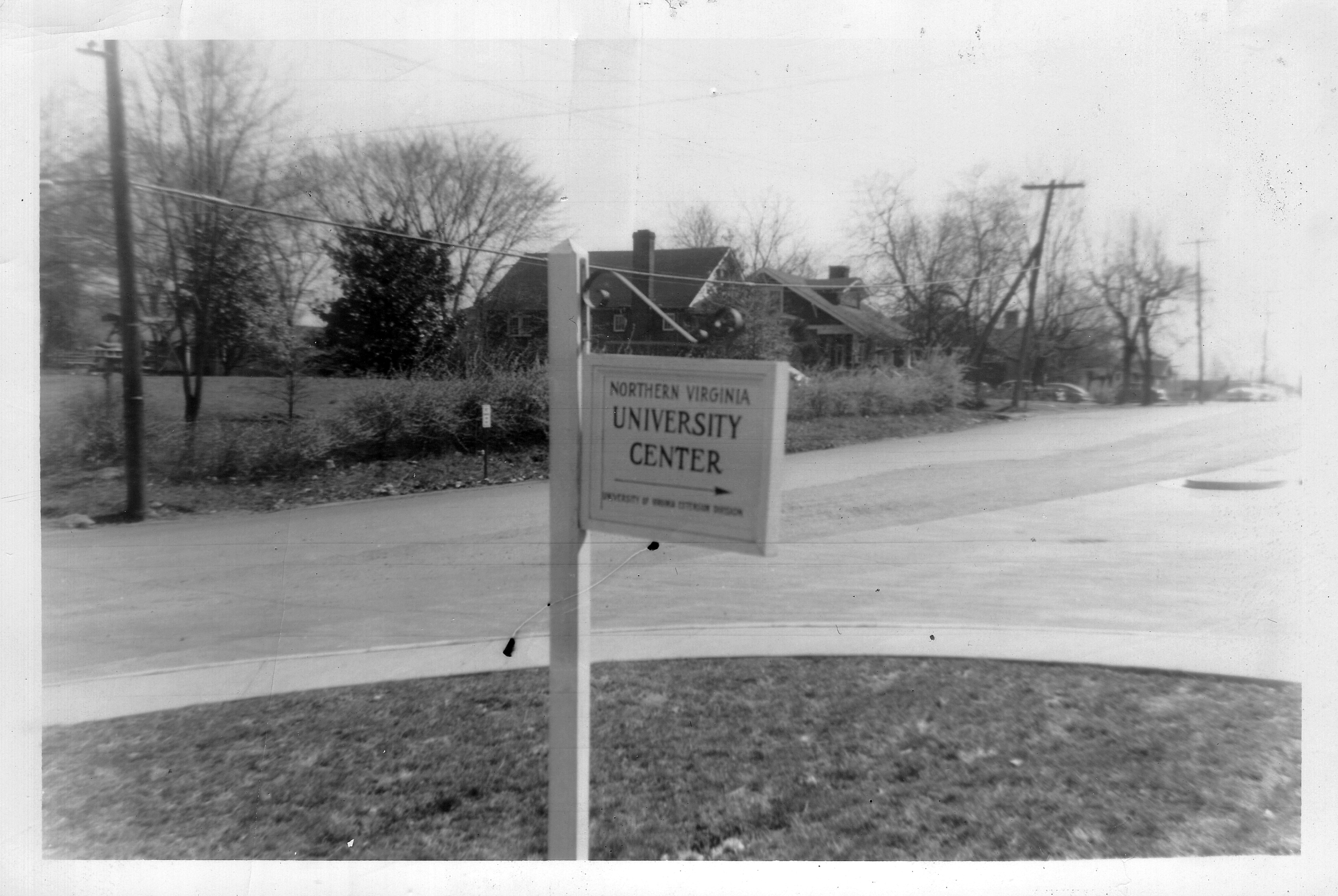 Sign: Northern Virginia University Center, 1953.