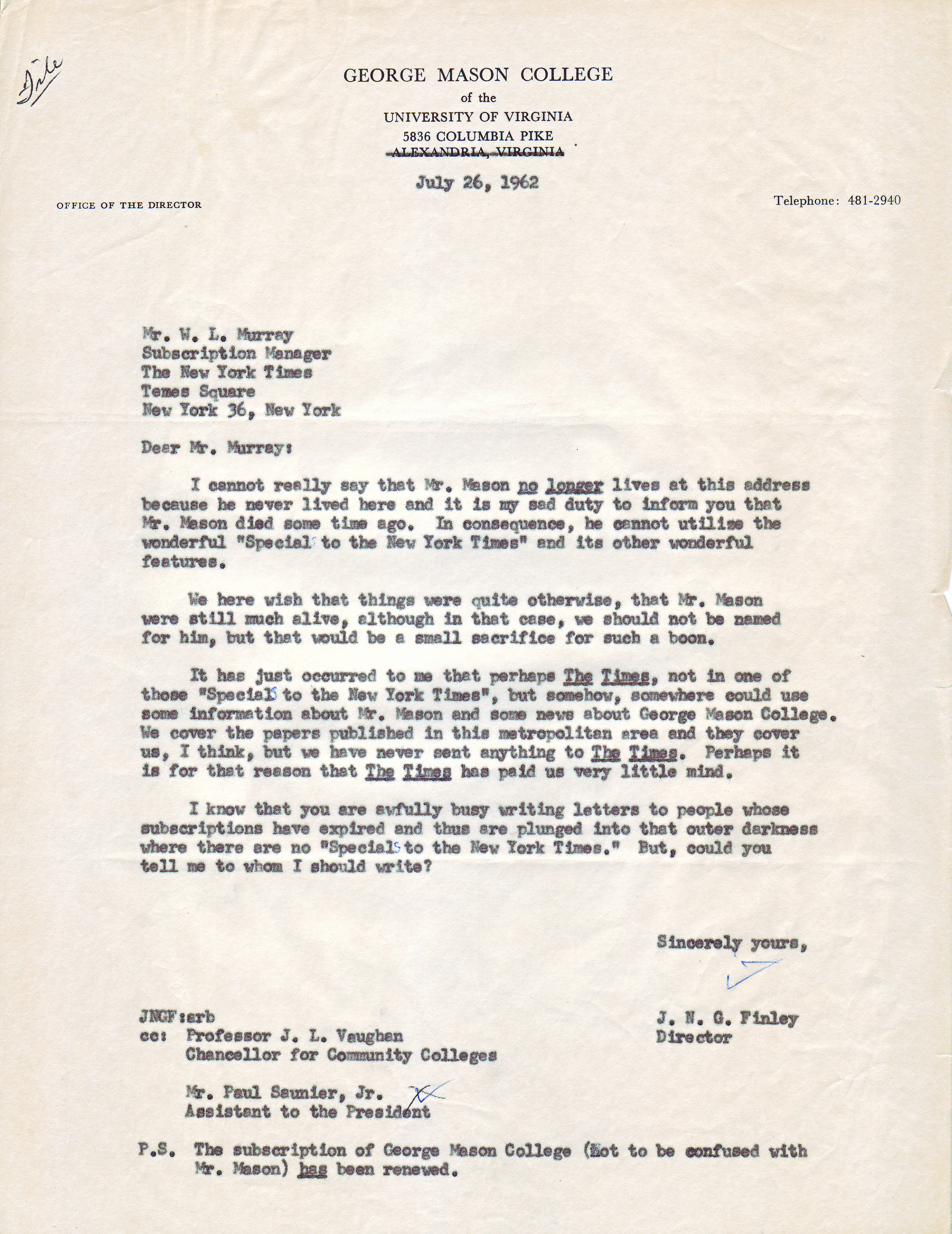 J.N.G. Finley to Mr. W.L. Murray, July 26, 1962.