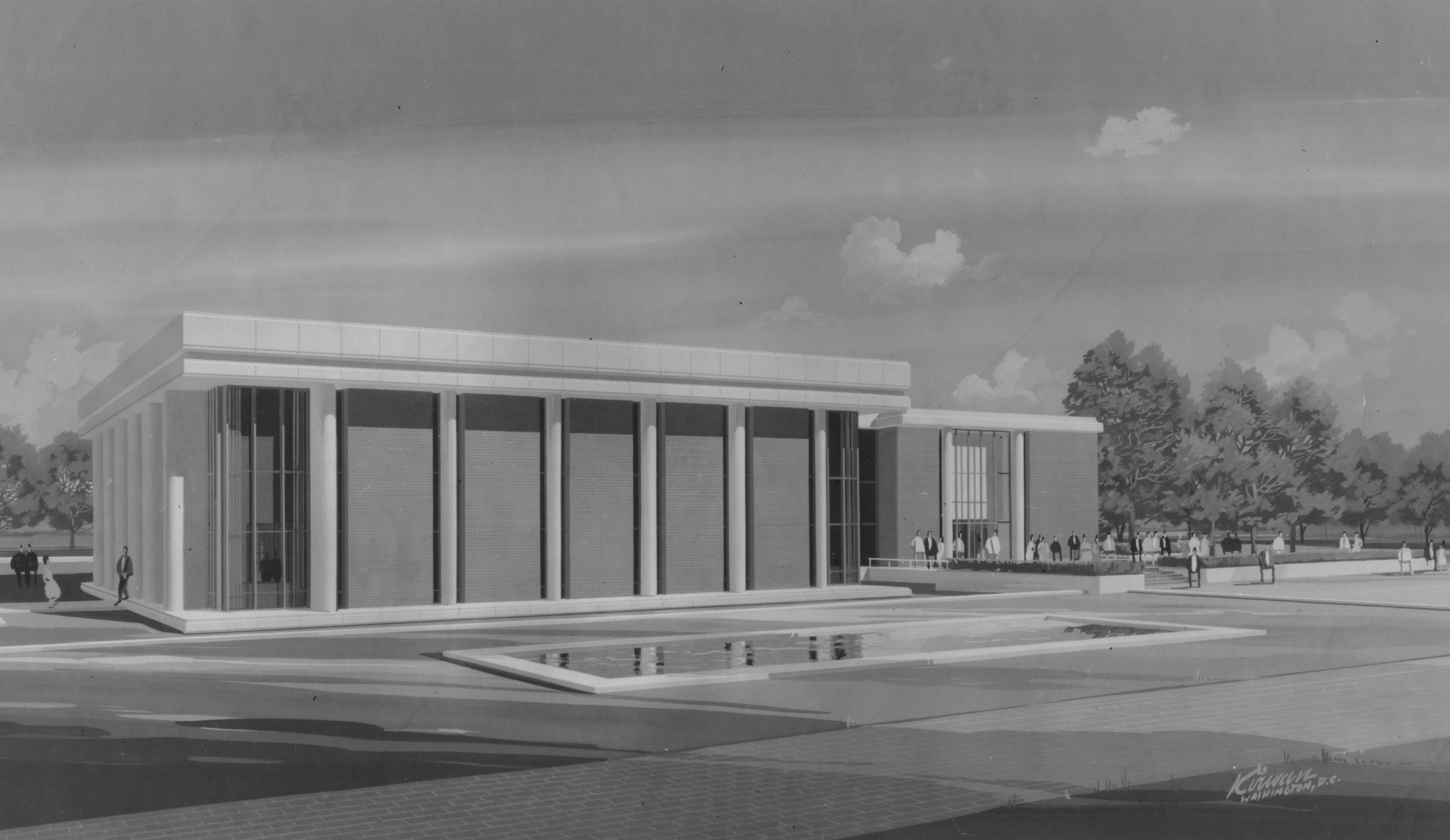 Architectural drawing, Fenwick Library, 1966