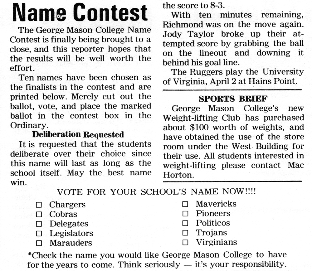 Name Contest: article from <em>The Gunston Ledger</em> April 5, 1966<br />