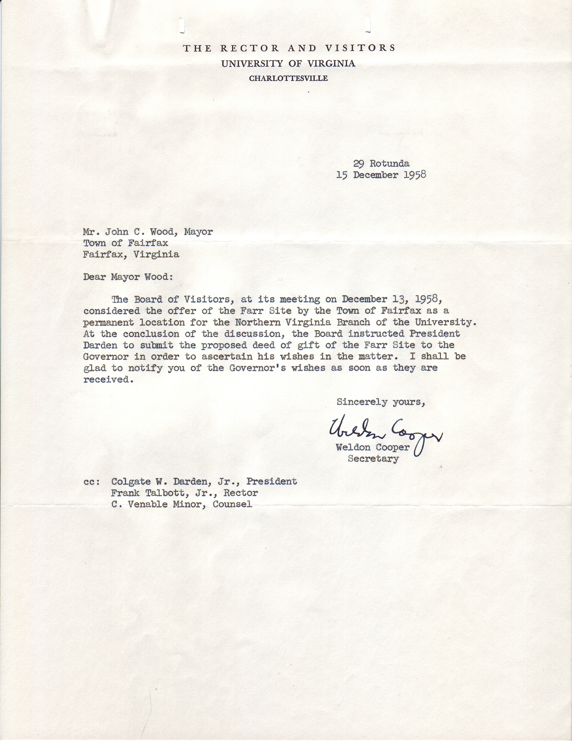 Weldon Cooper to John C. Wood, December 15, 1958.
