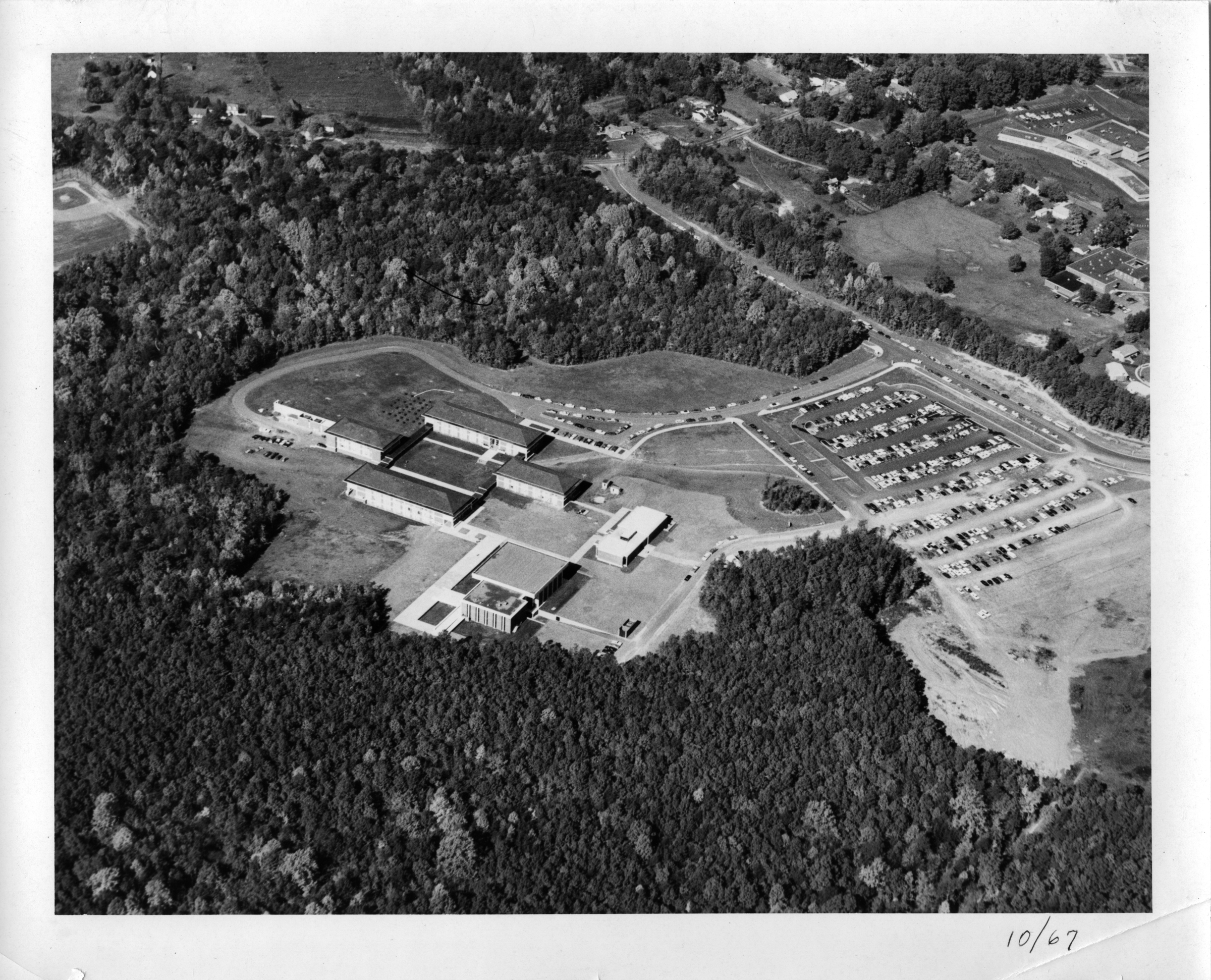 George Mason College, Fairfax campus, 1967, aerial photograph looking north