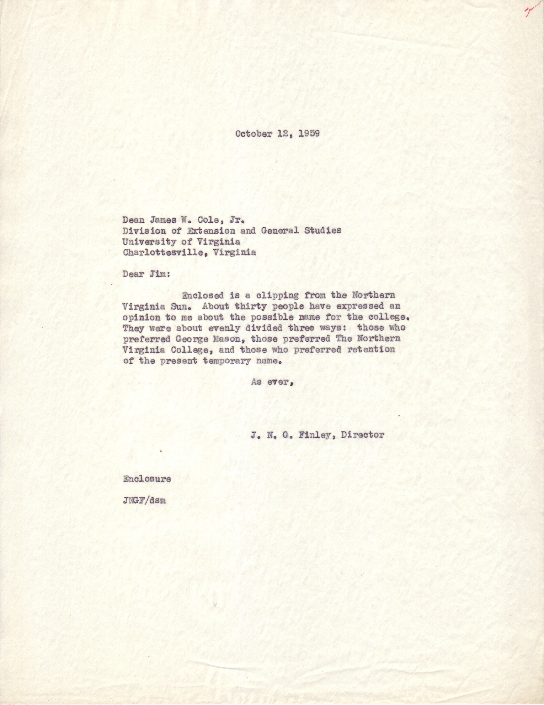 J.N.G. Finley to James W. Cole, Jr., October 12. 1959.