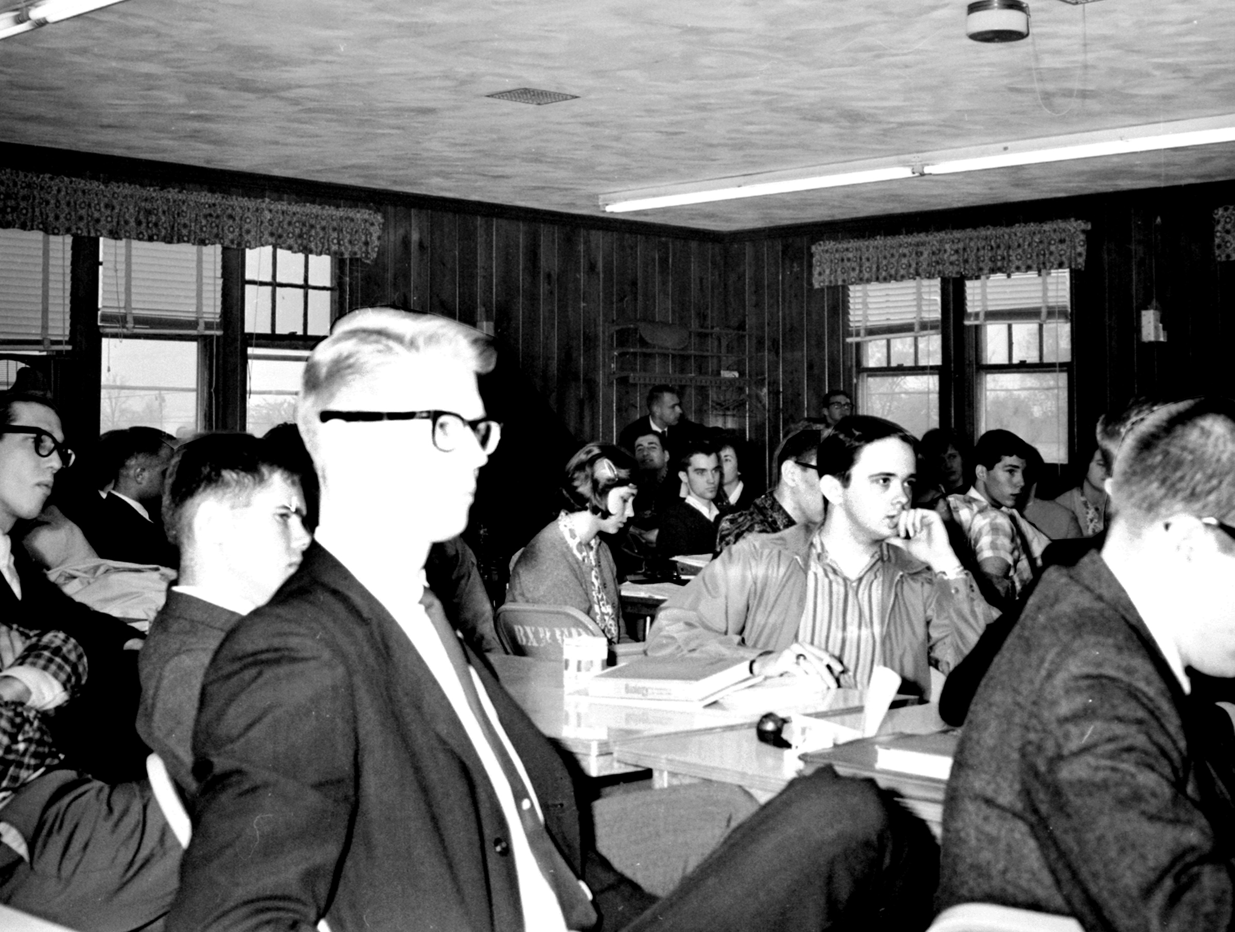 Student Government election debates, student lounge (firehouse meeting hall), 1964.