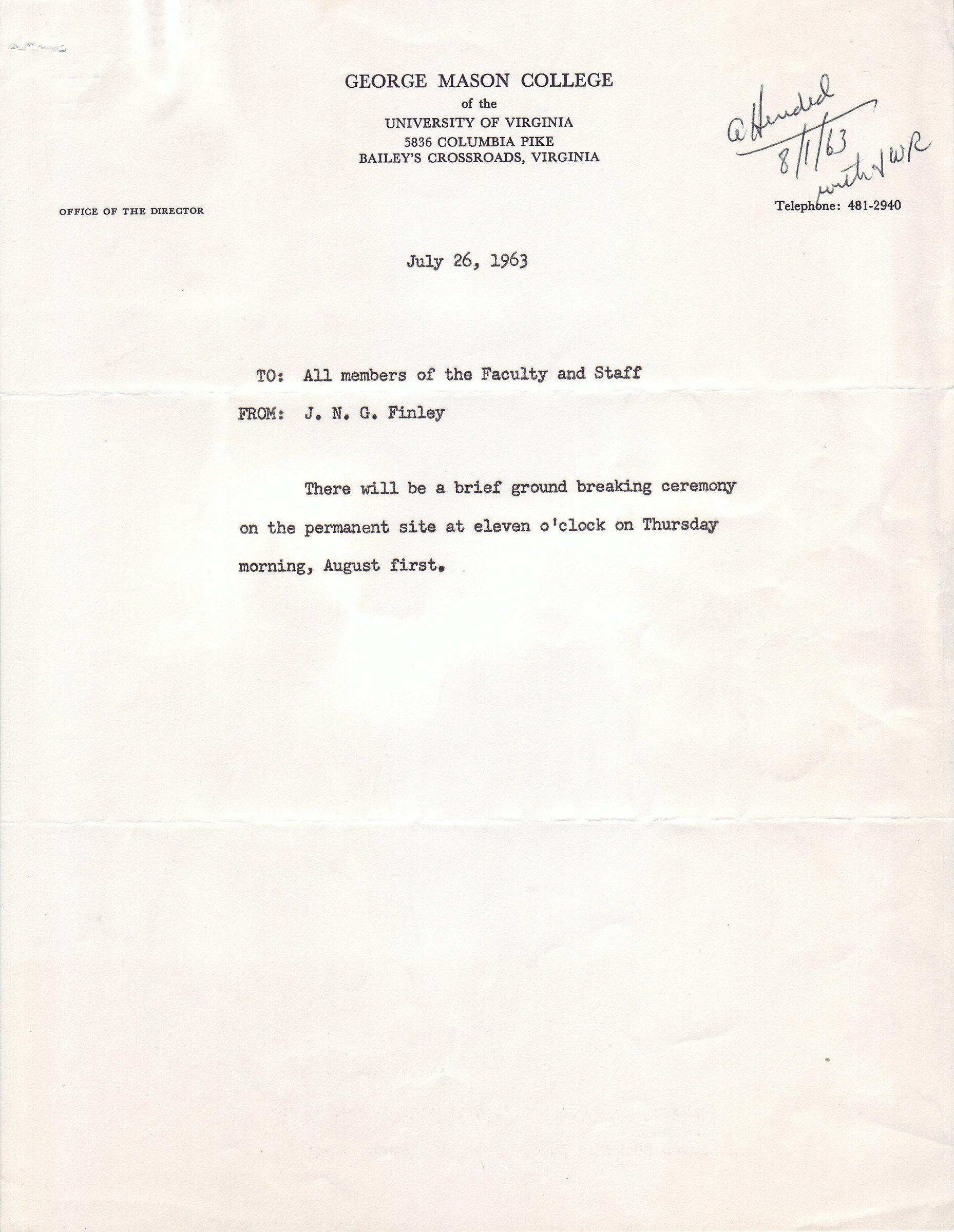 J.N.G. Finley to all members of the faculty and staff, July 26, 1963.
