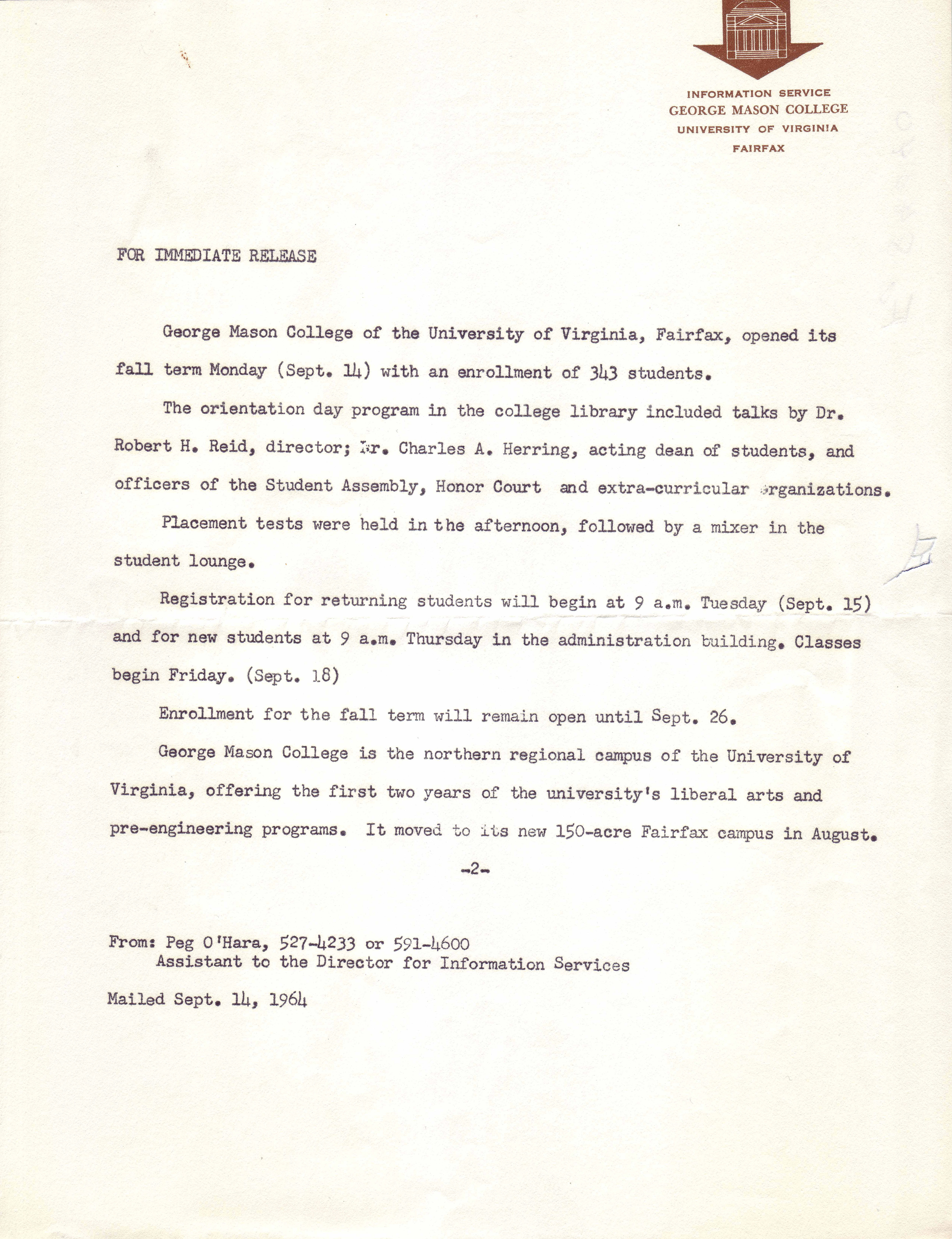 Press release, George Mason College of the University of Virginia, September 14, 1964