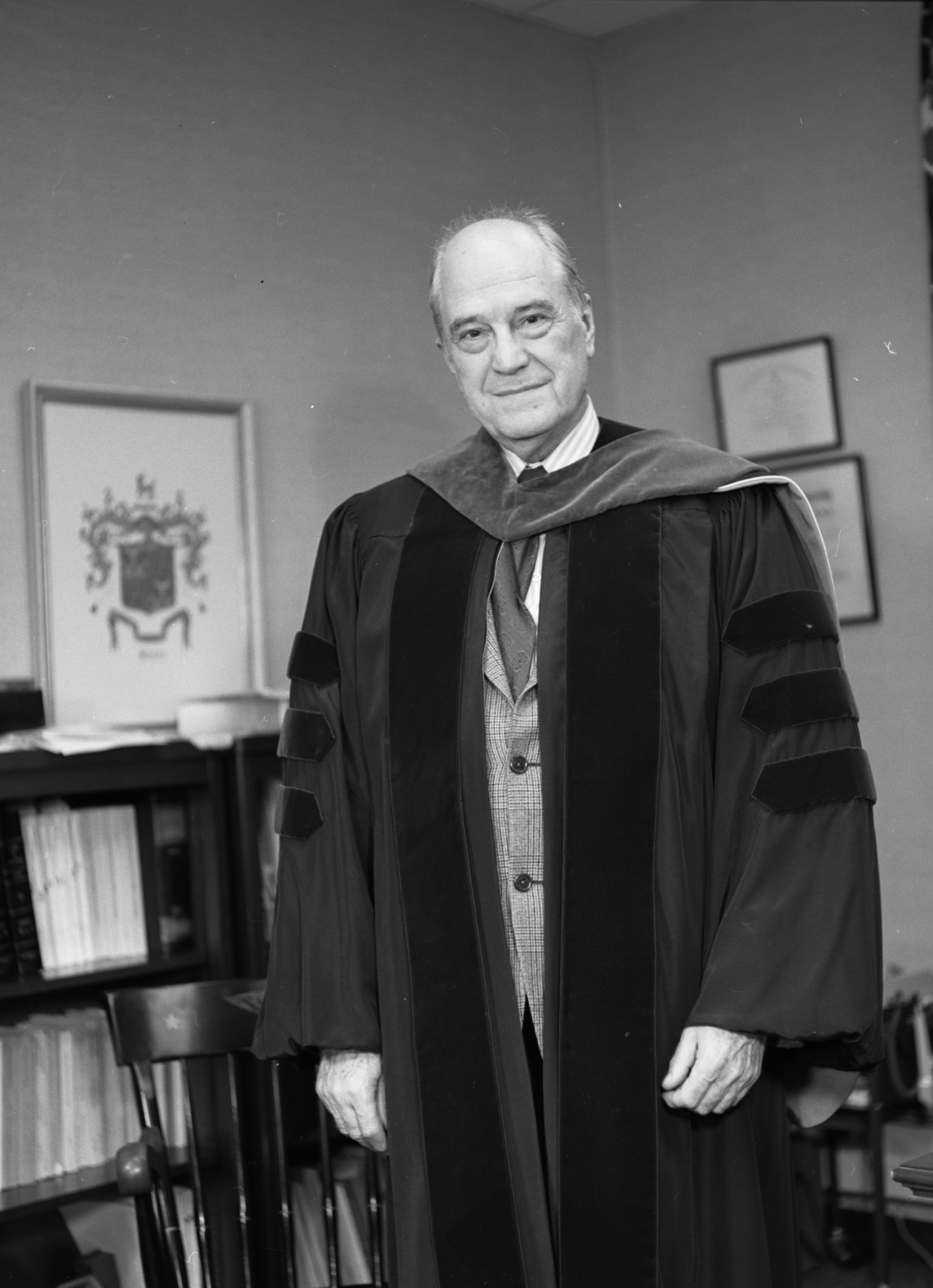 George Mason University President, Lorin A. Thompson in academic regalia, February 6, 1973