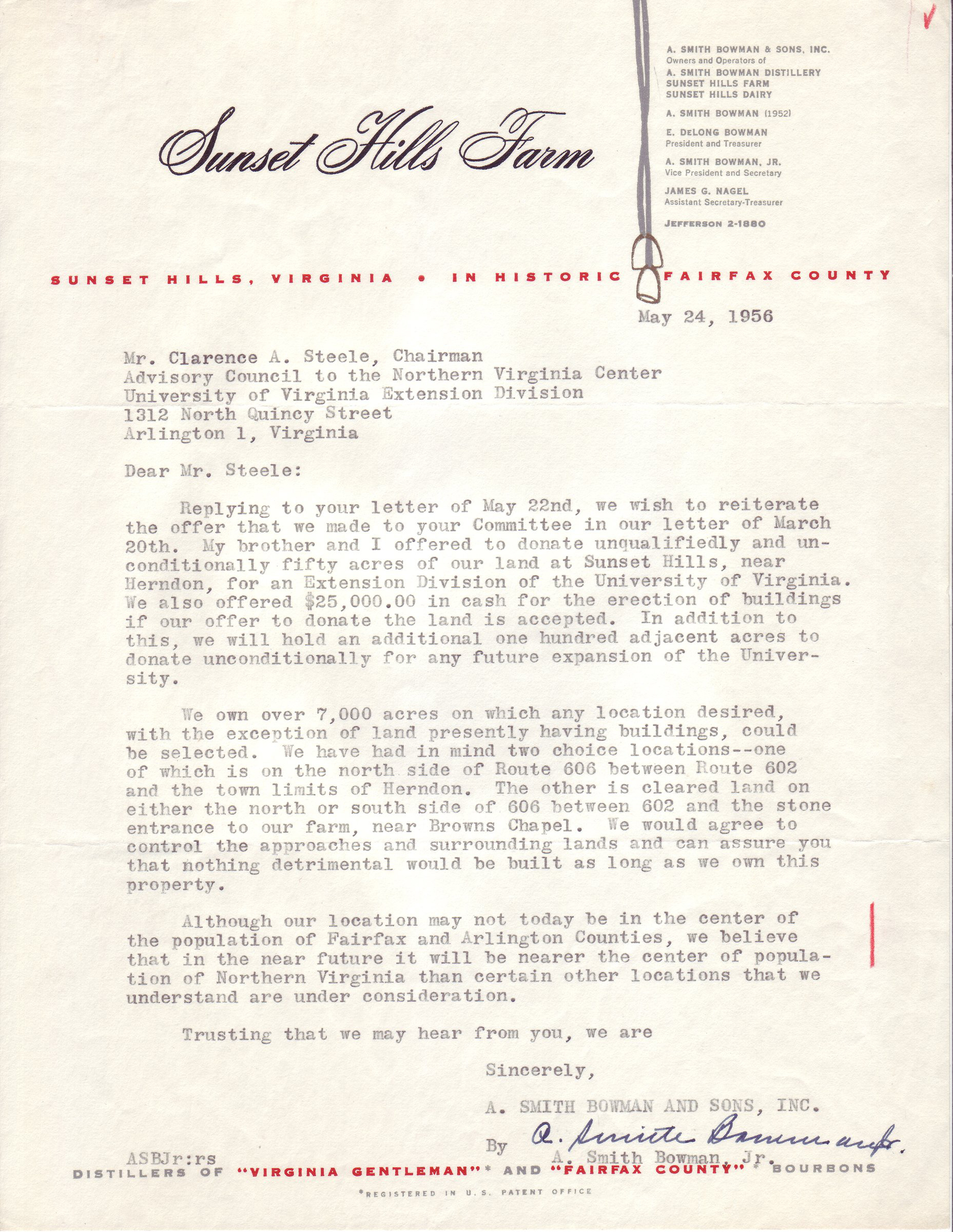 A. Smith Bowman, Jr. to Clarence A. Steele, May 24, 1956.