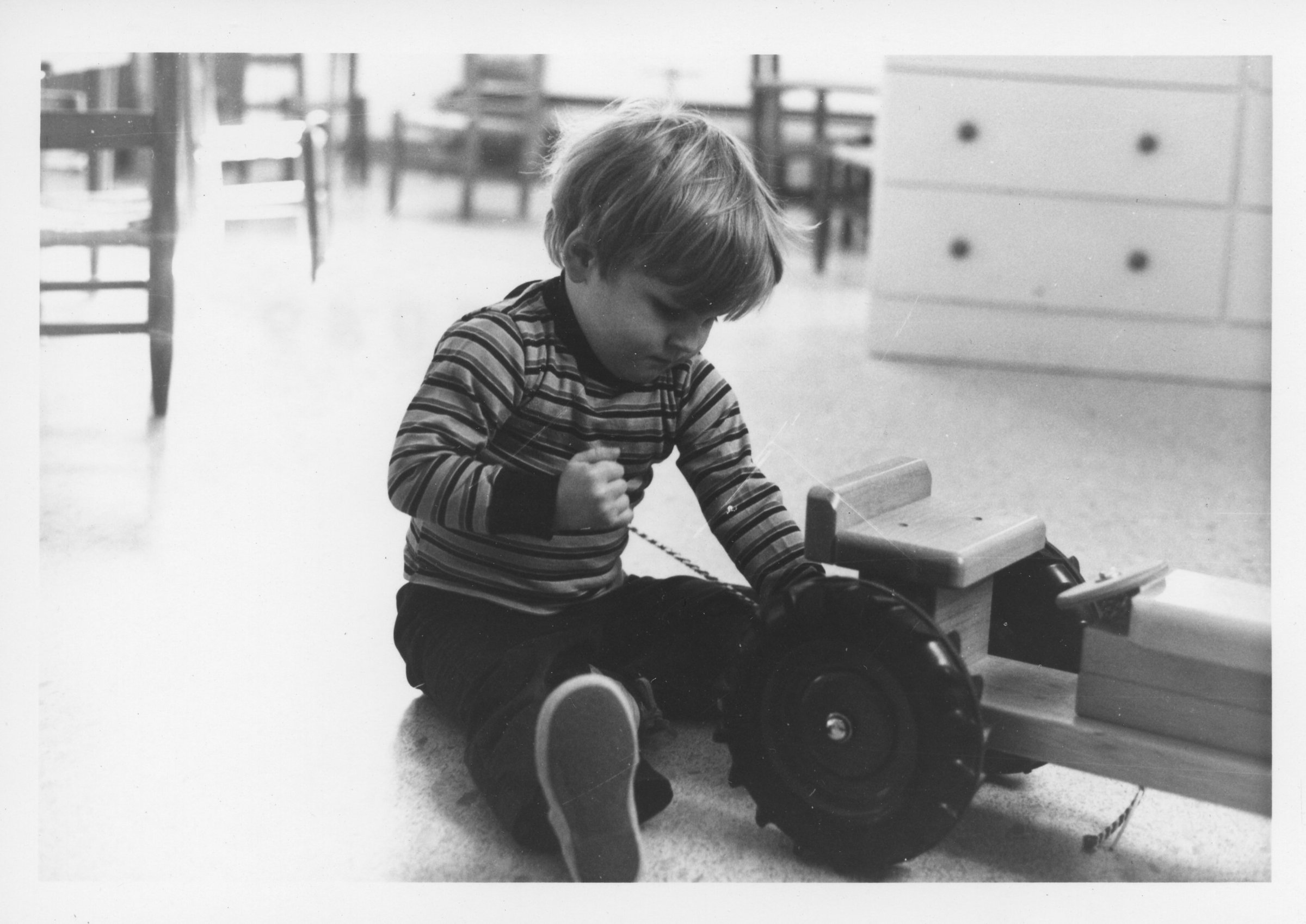 Child playing at the Hourly Child Care Center at George Mason College, ca. 1971