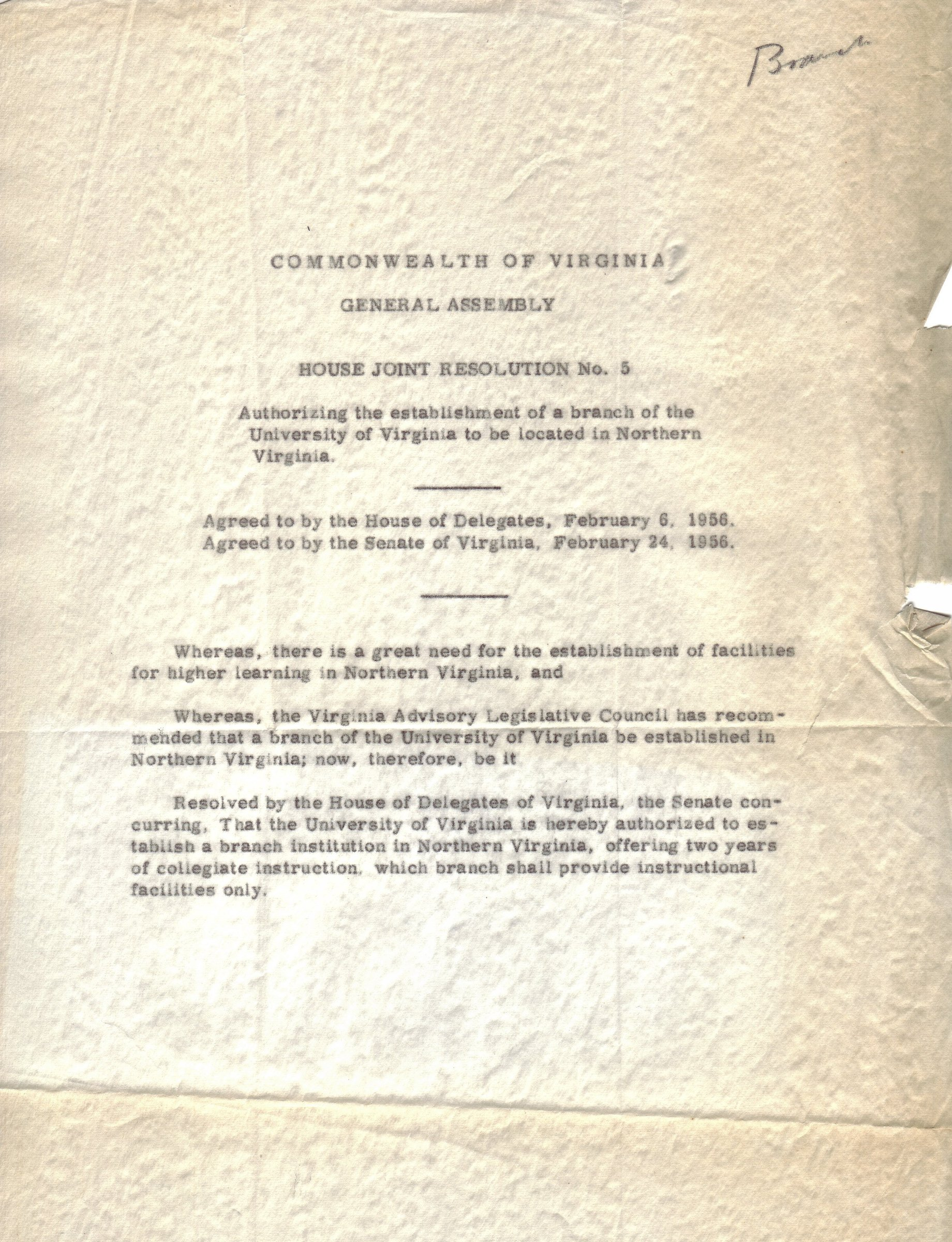 Commonwealth of Virginia: House Joint Resolution #5, February 24, 1956.