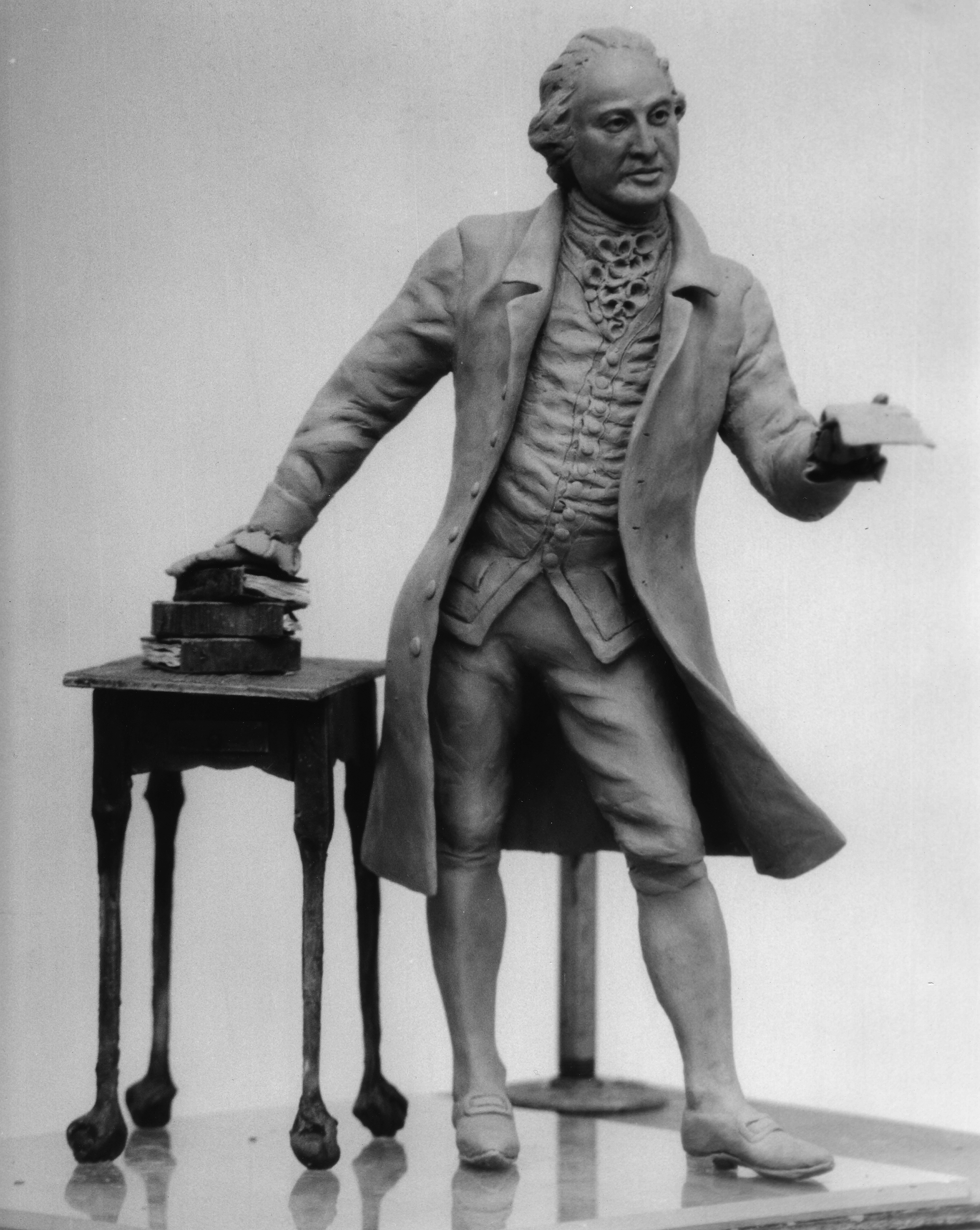 Clay maquette [model] for George Mason bronze sculpture by sculptor Wendy Ross, 1992