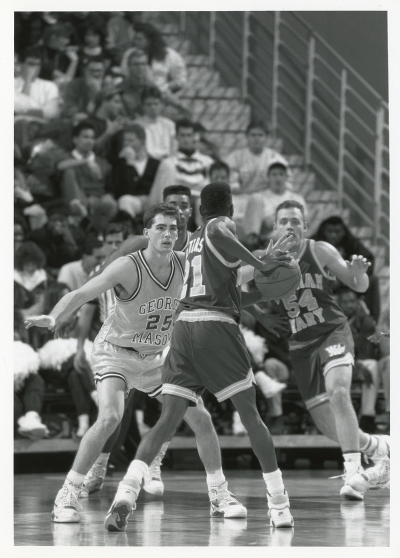 George Mason University player, Steve Moran in action against CAA opponents, January 9, 1991