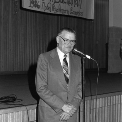 James Buchanan speaks at a reception on the Fairfax Campus congratulating him on the Nobel Prize, 1986.